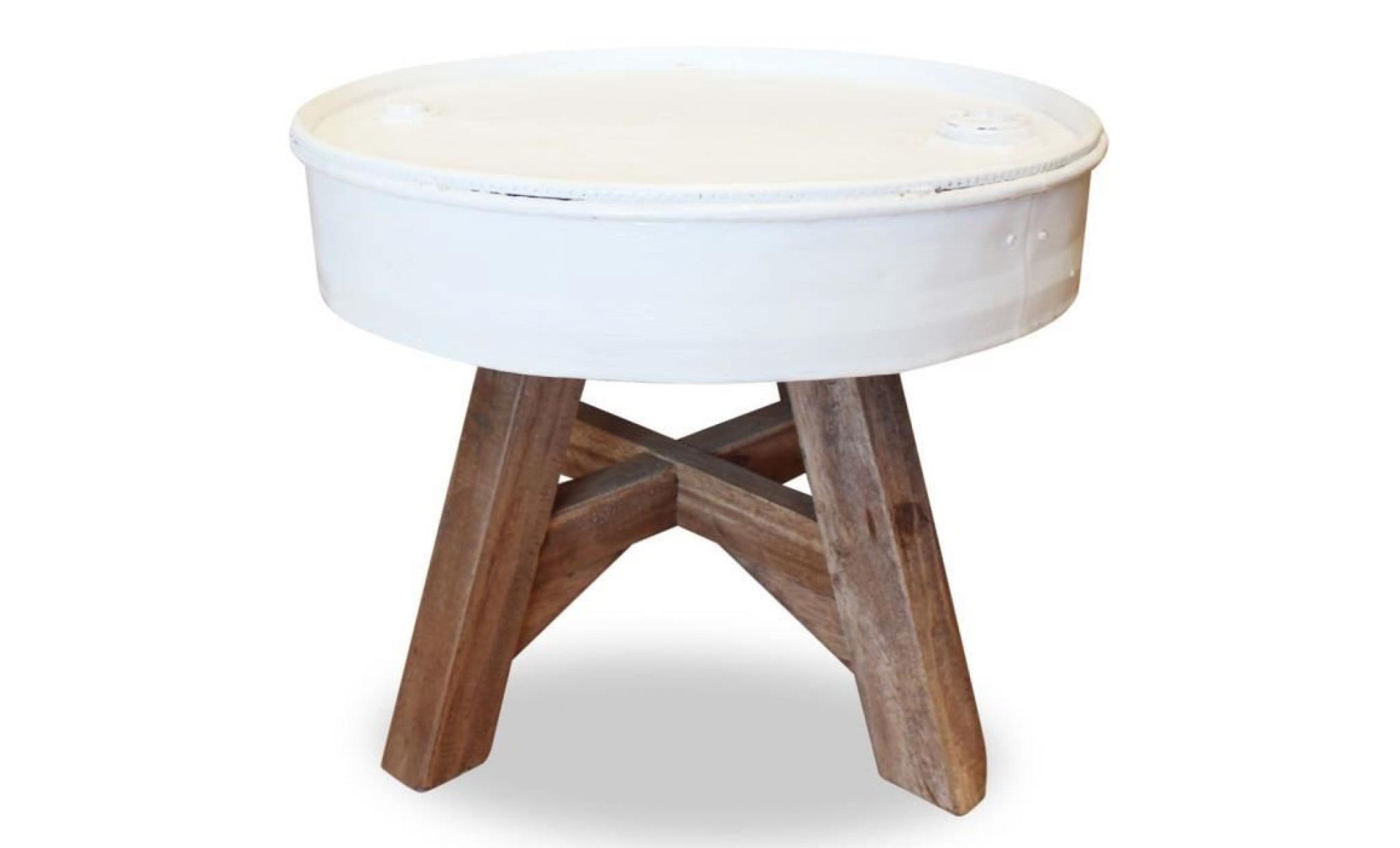 Table Basse Table De Salon Ronde Bois De Récupération Massif Fabrication à La Main 60 X 45 Cm Blanc