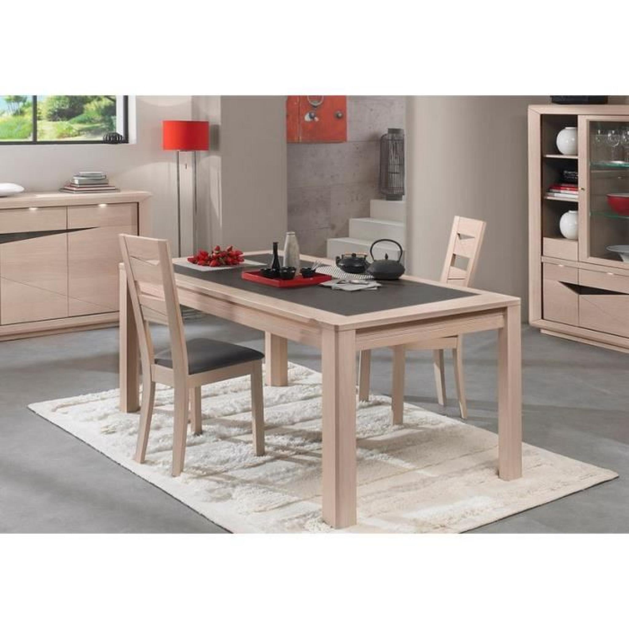 Table Ceramique Monaco Chene Blanchi L 160 X H 77 X P 90 Cannelle