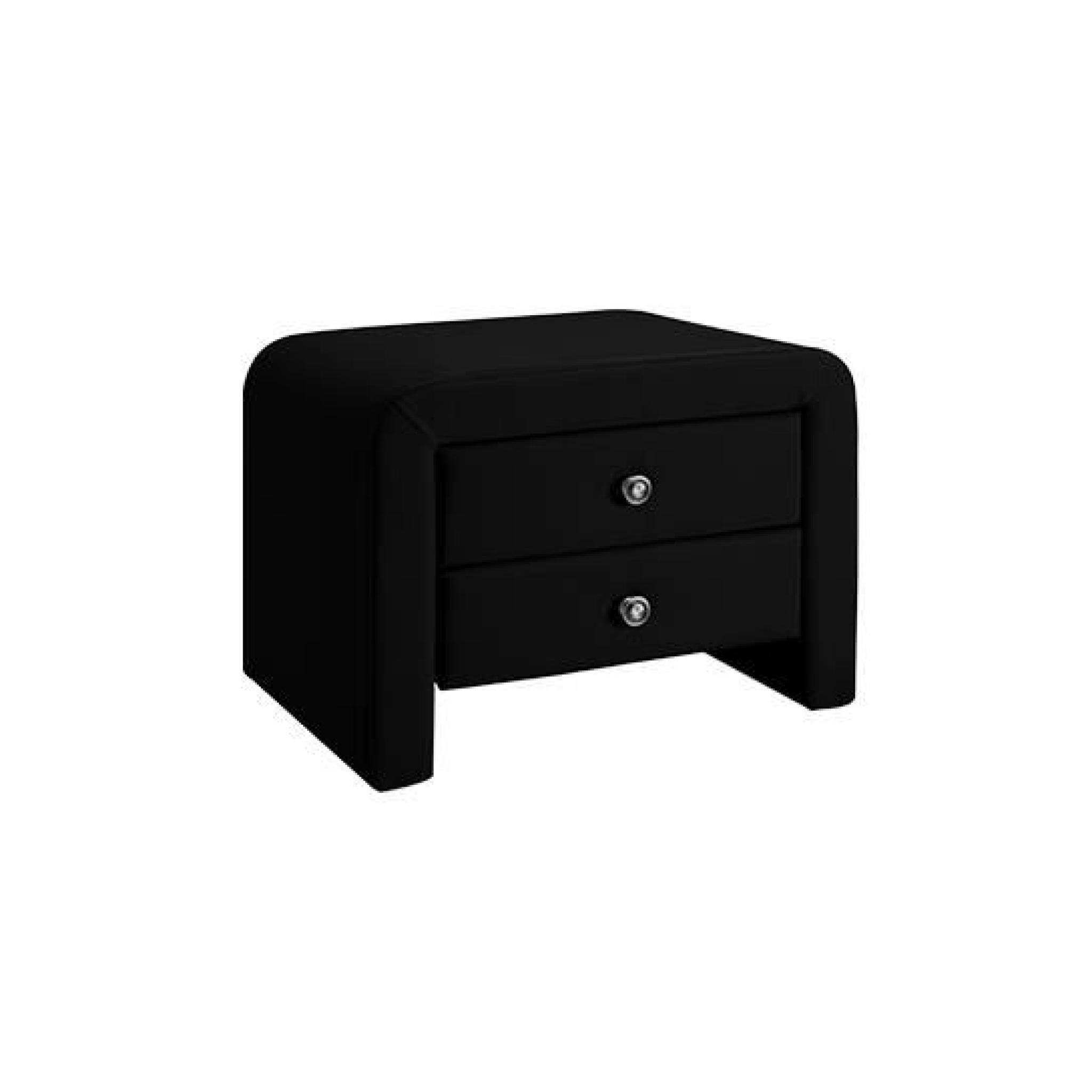 Table chevet design en PU Noir Eva - Simplicité et élégance