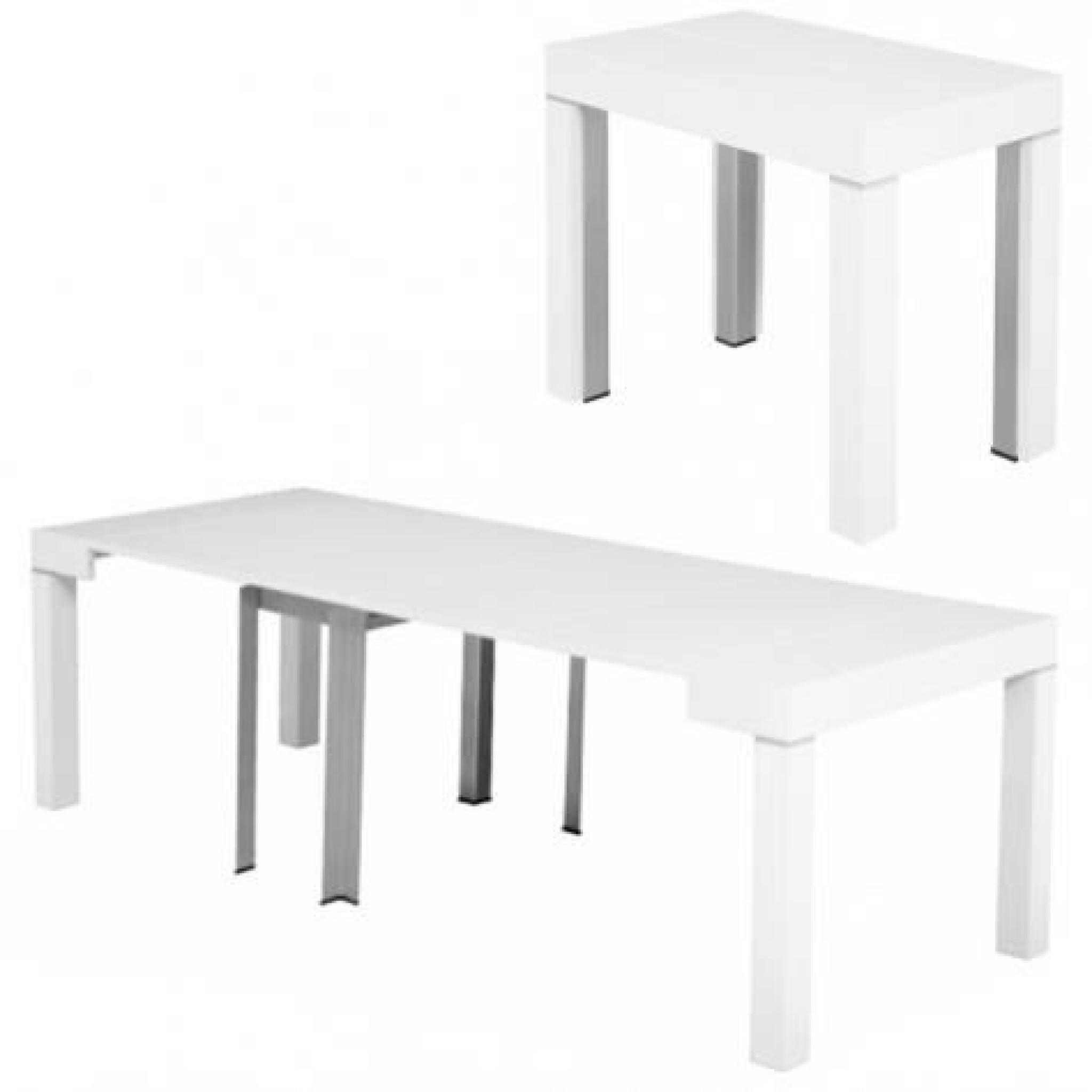 table console extensible blanche laqu e 4 rallonges alesia achat vente ensemble salle a manger. Black Bedroom Furniture Sets. Home Design Ideas