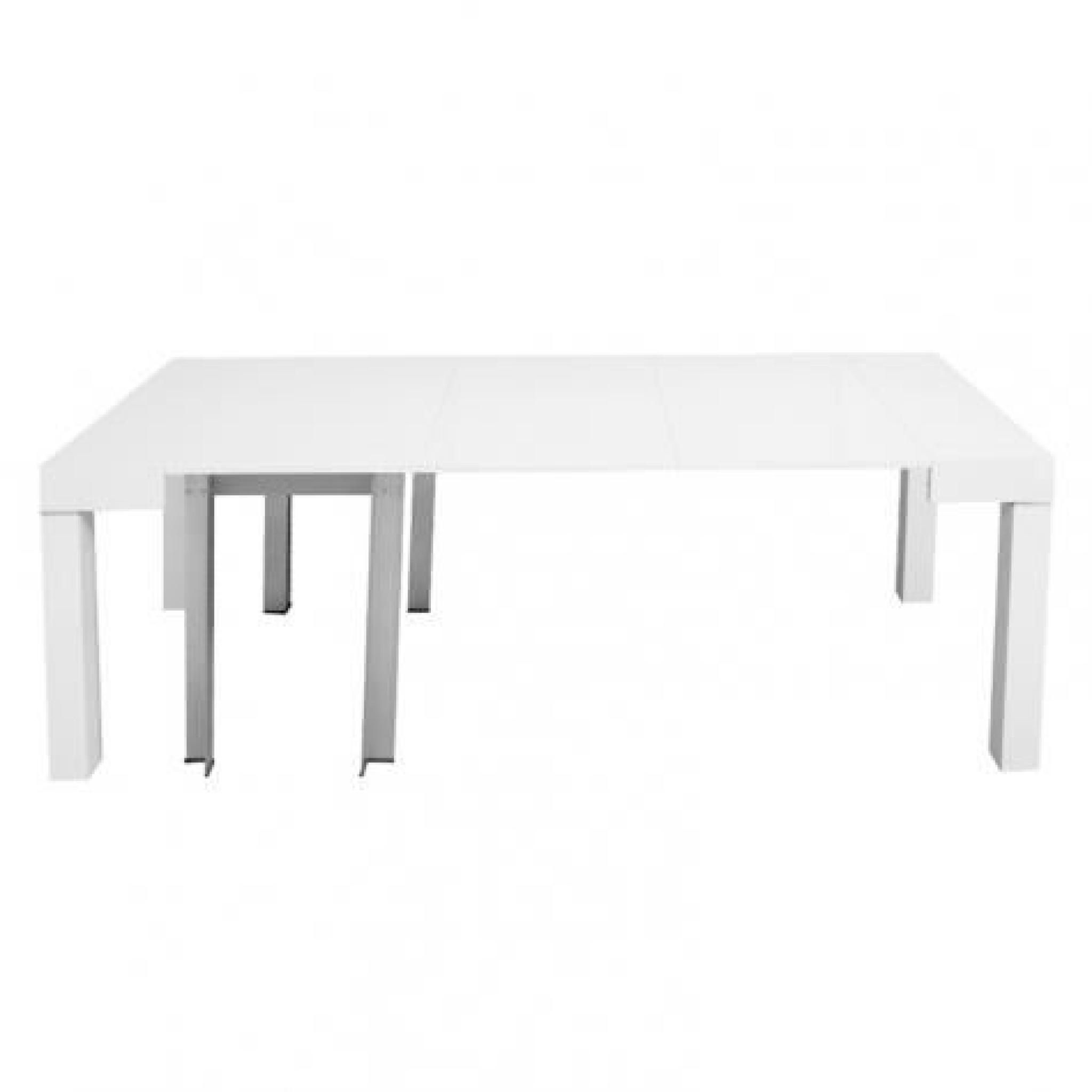 Table console extensible blanche laqu e 4 rallonges alesia for Table a manger blanche extensible