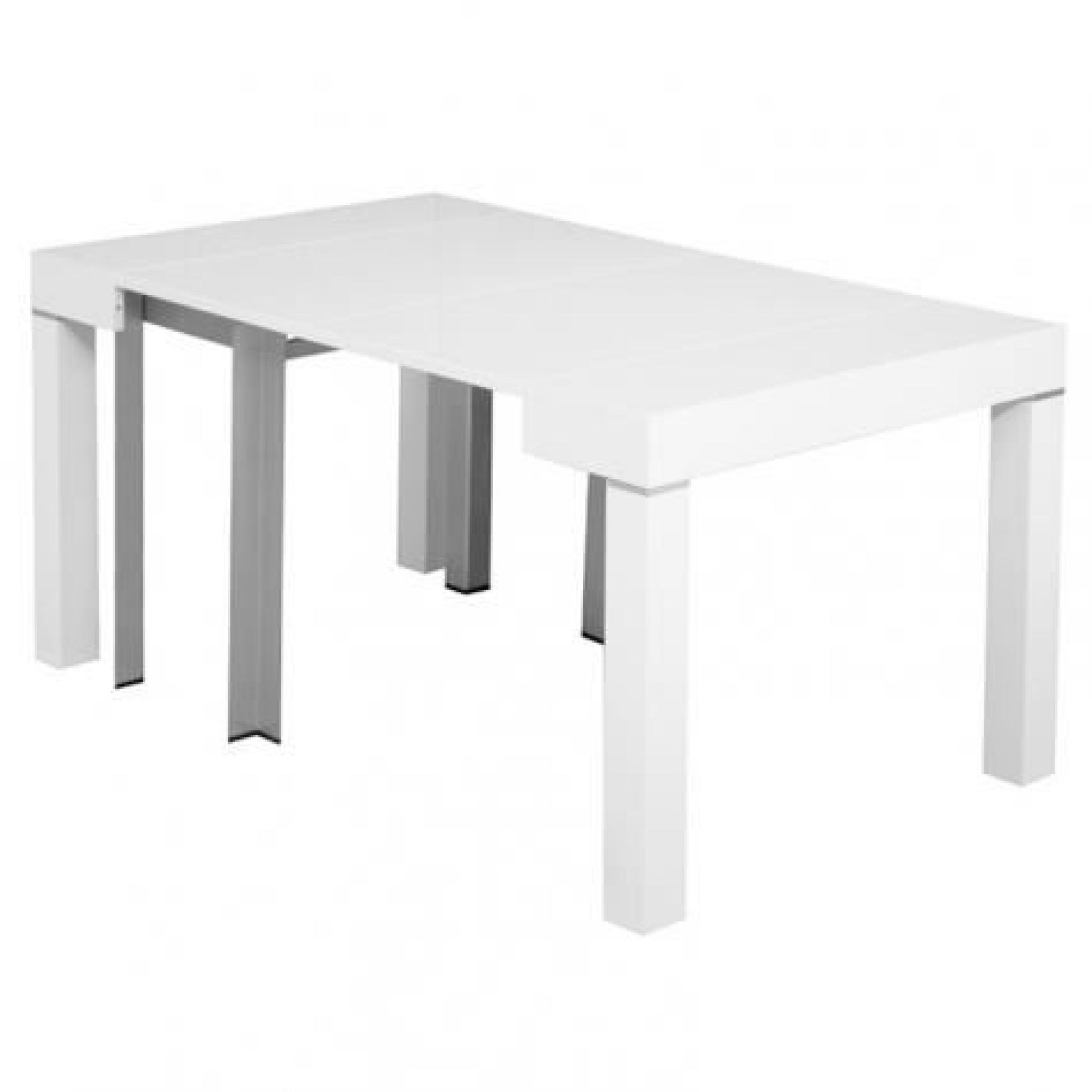 Table console extensible blanche laqu e 4 rallonges alesia - Table extensible laquee ...