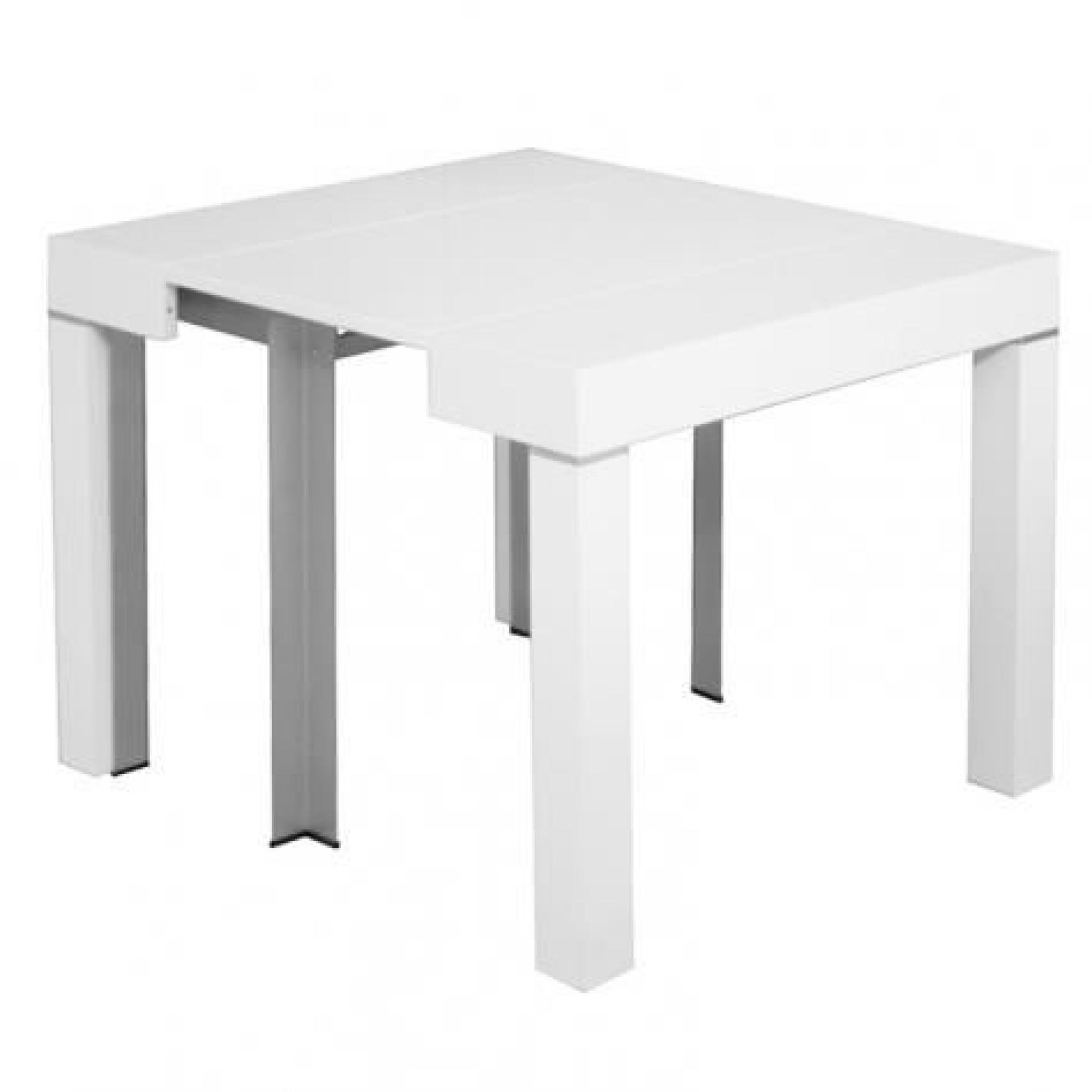 Table console extensible blanche laqu e 4 rallonges alesia for Table blanche a rallonge