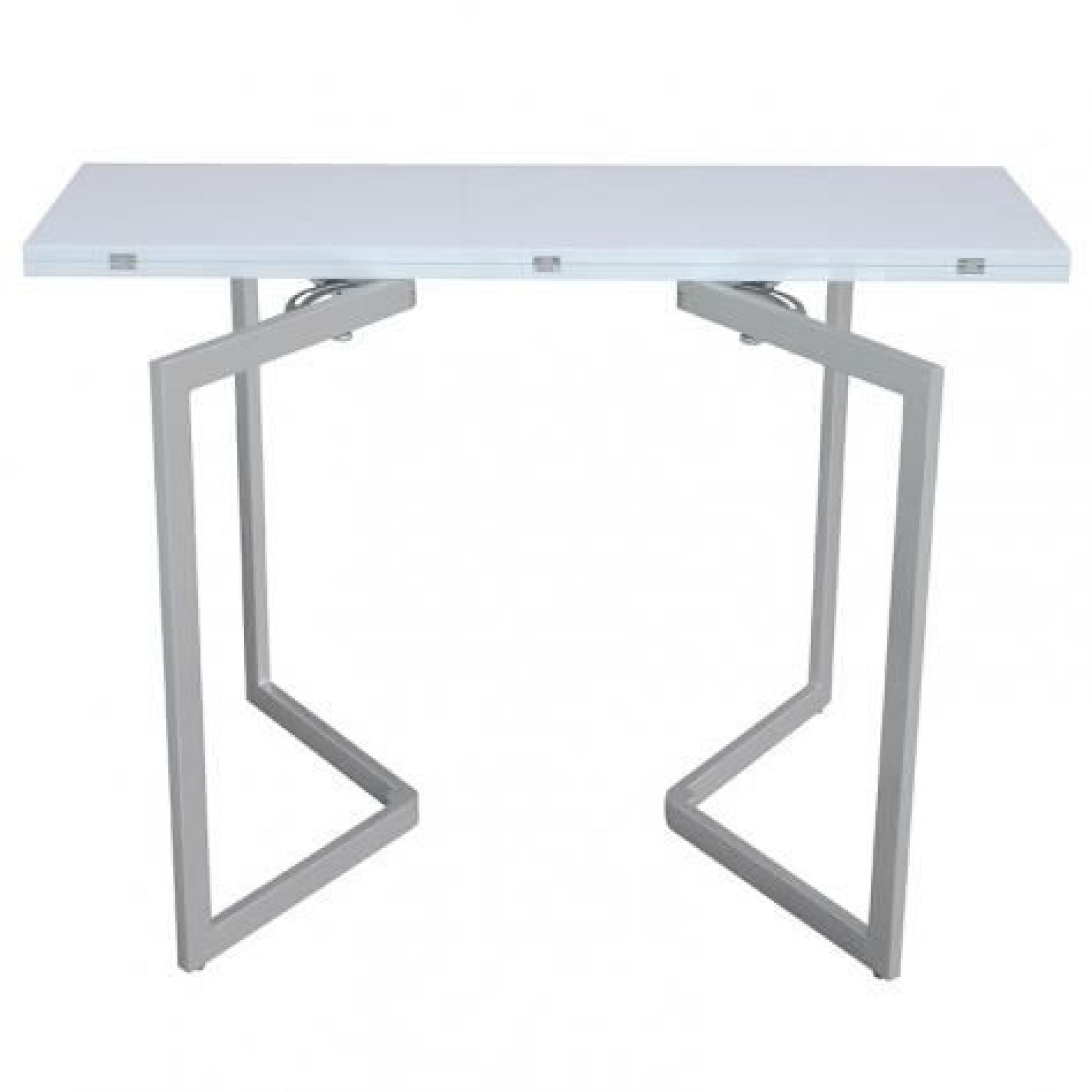 Table console extensible blanche laqu e talia achat for Table laquee extensible