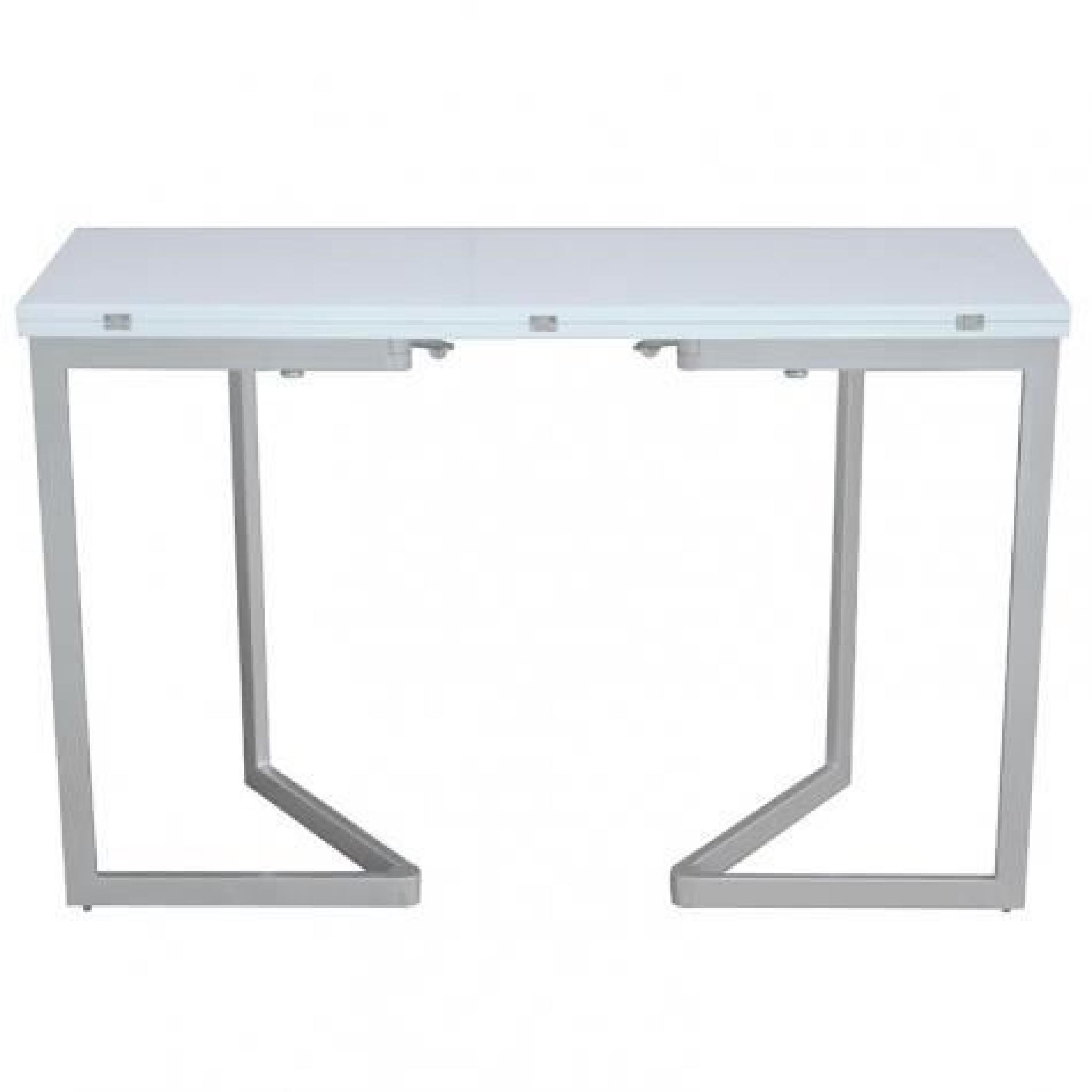 Table extensible blanche laquee maison design for Table console extensible rallonges incorporees
