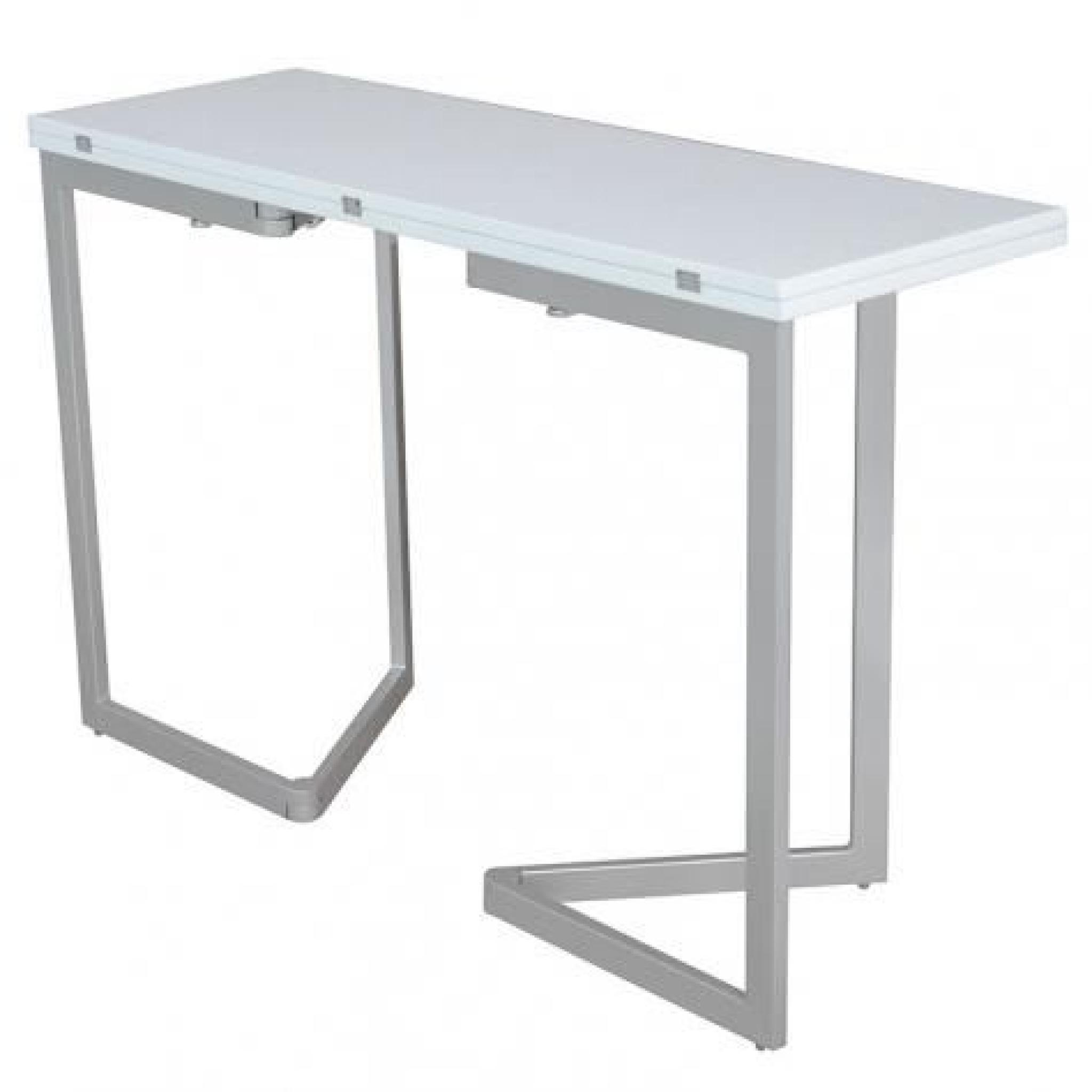 Table console extensible blanche laqu e talia achat for Table extensible design