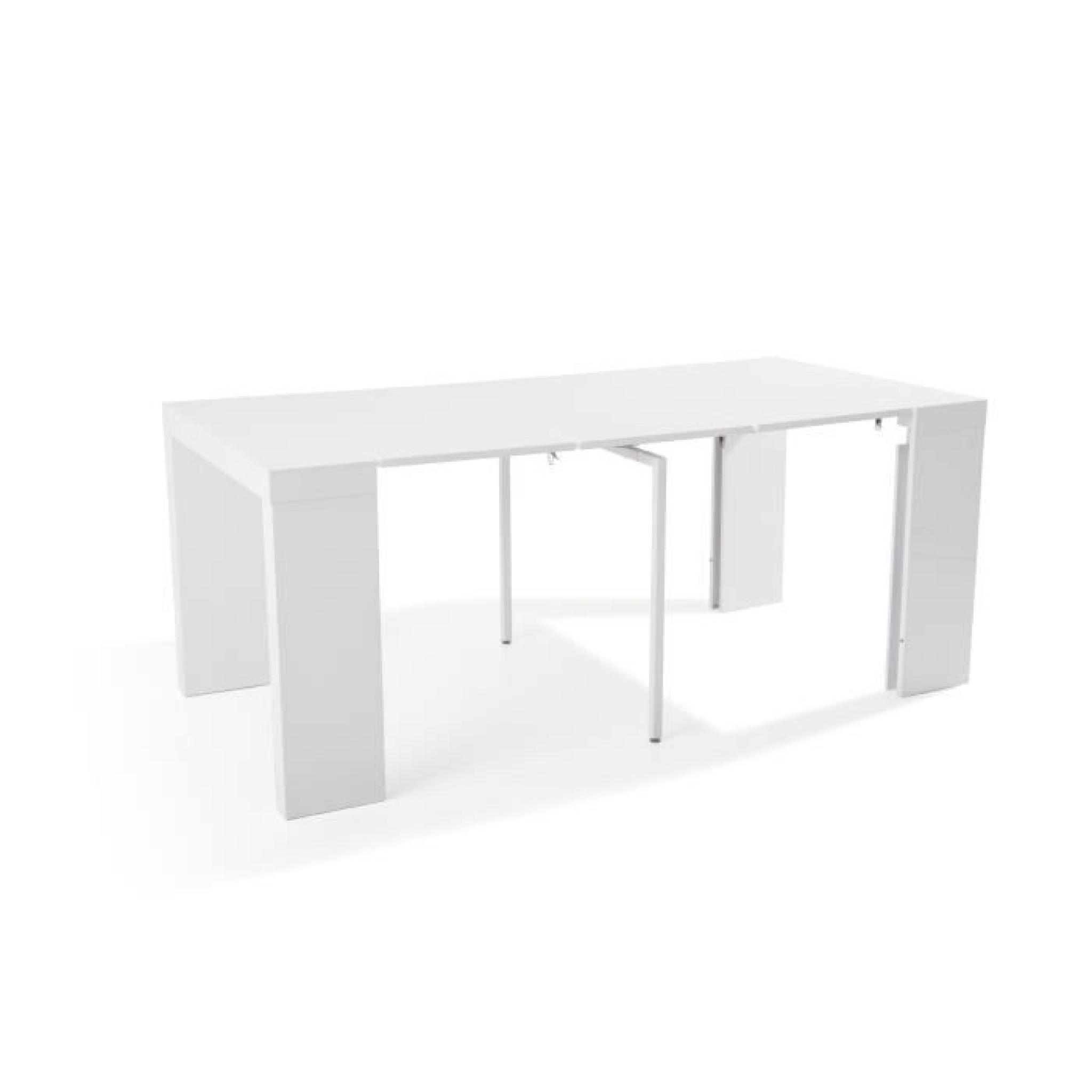 Table Console Extensible Othello 5 allonges Laqué Gris -2m70-