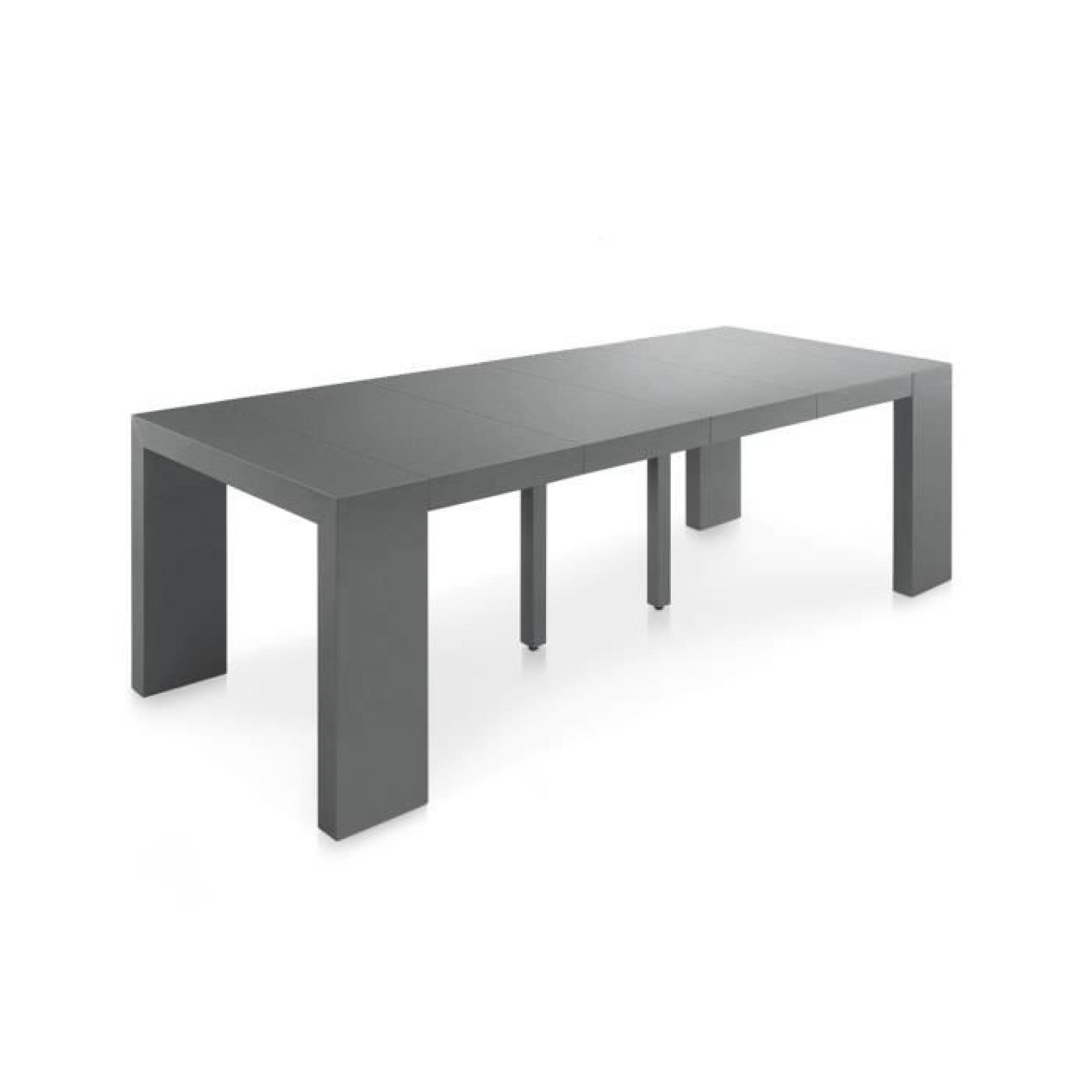 table console extensible pas cher 250 cm gris s achat. Black Bedroom Furniture Sets. Home Design Ideas