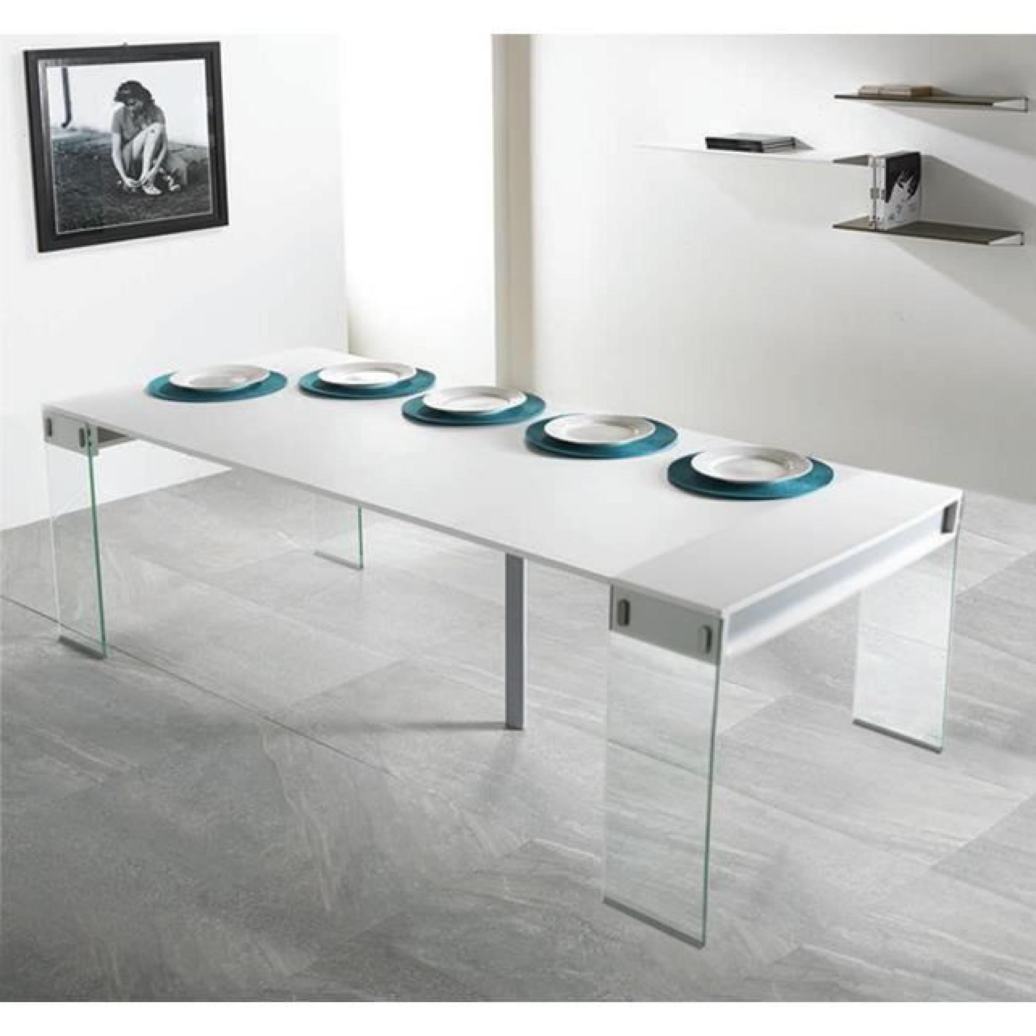 Table console extensible town blanc 4 allonges achat - Console table a manger ...