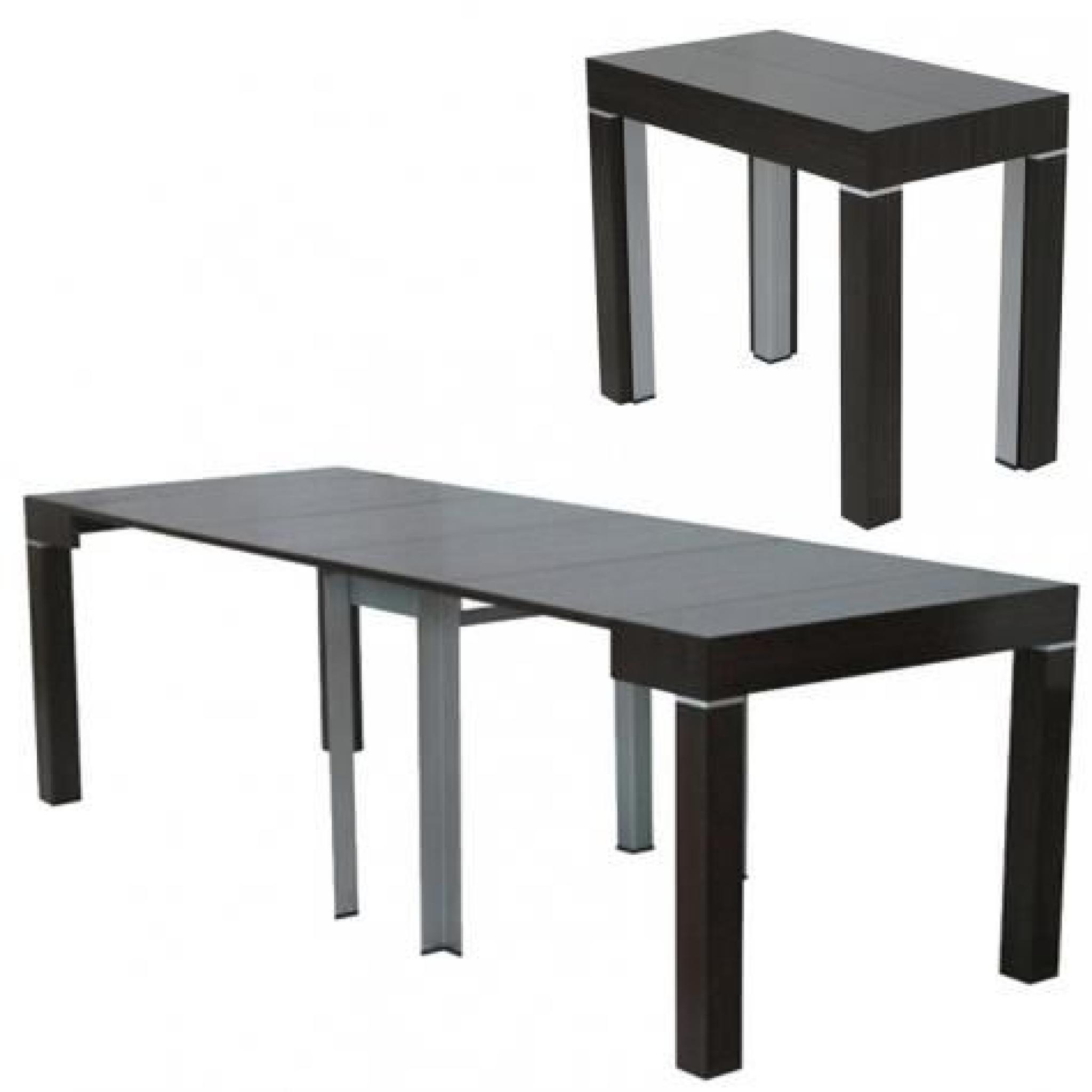 Table console extensible wenge avec 4 rallonges alesia for Table de salle a manger wenge