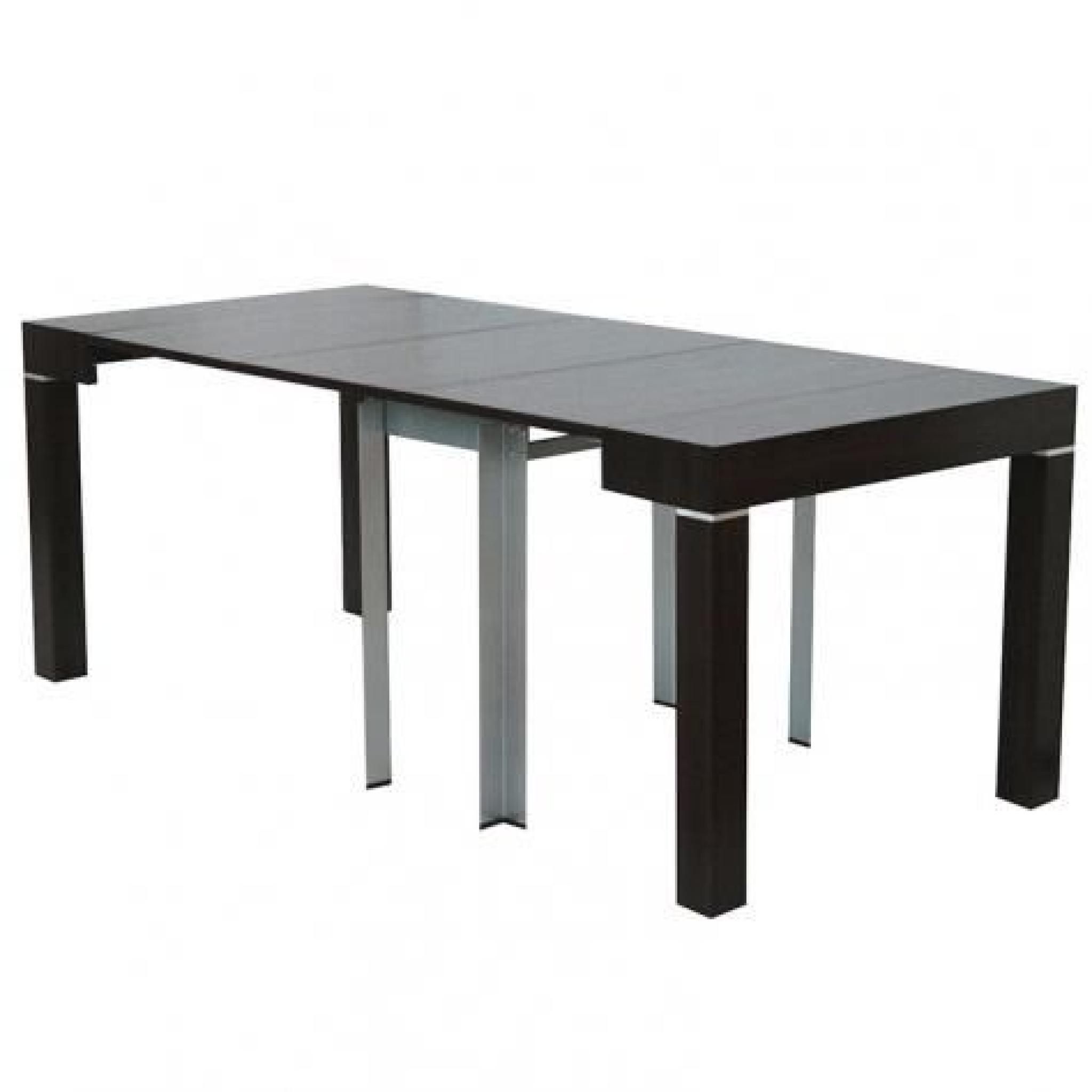 Table console extensible wenge avec 4 rallonges alesia for Table salle a manger wenge but