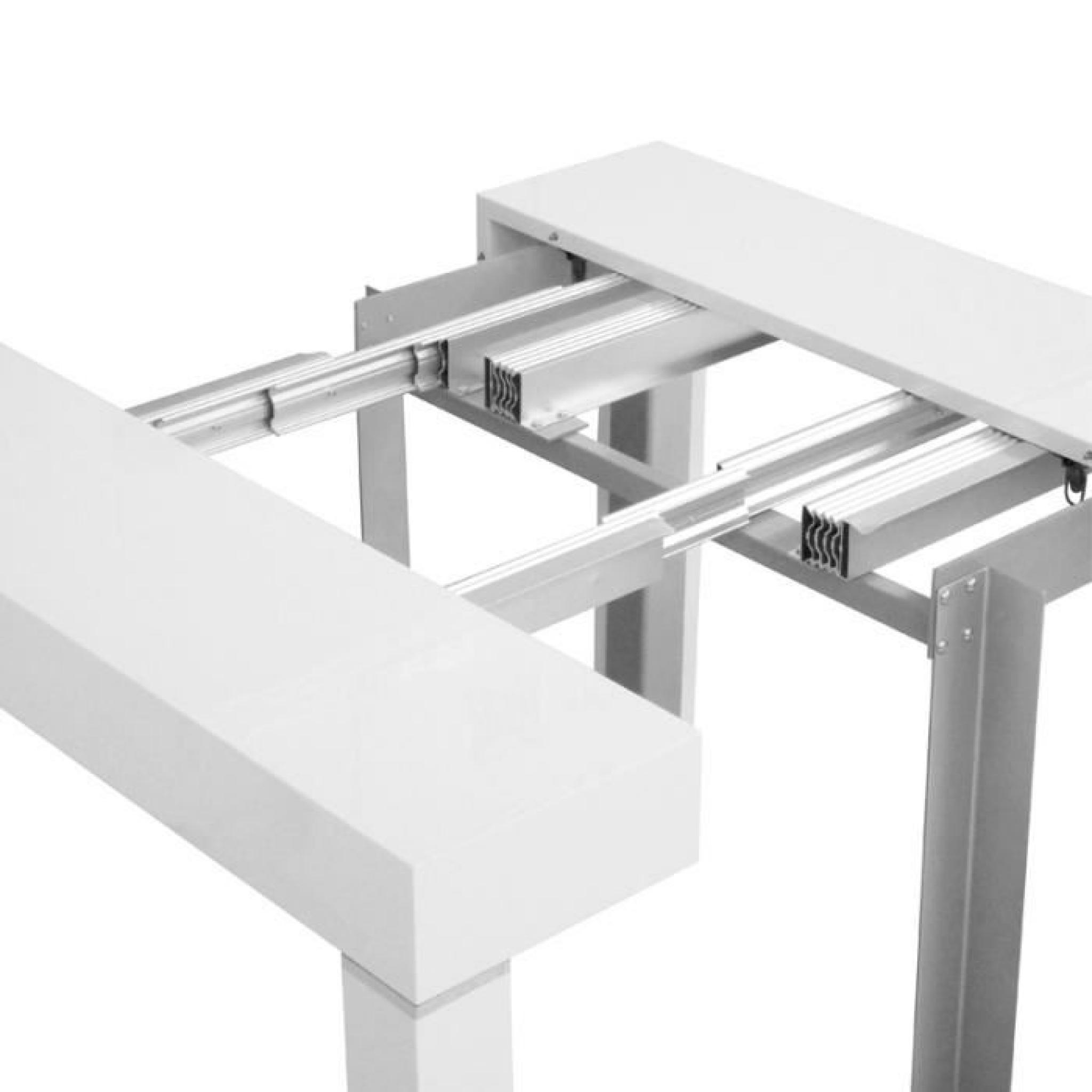 table console laqu e blanc extensible 10 personnes achat. Black Bedroom Furniture Sets. Home Design Ideas