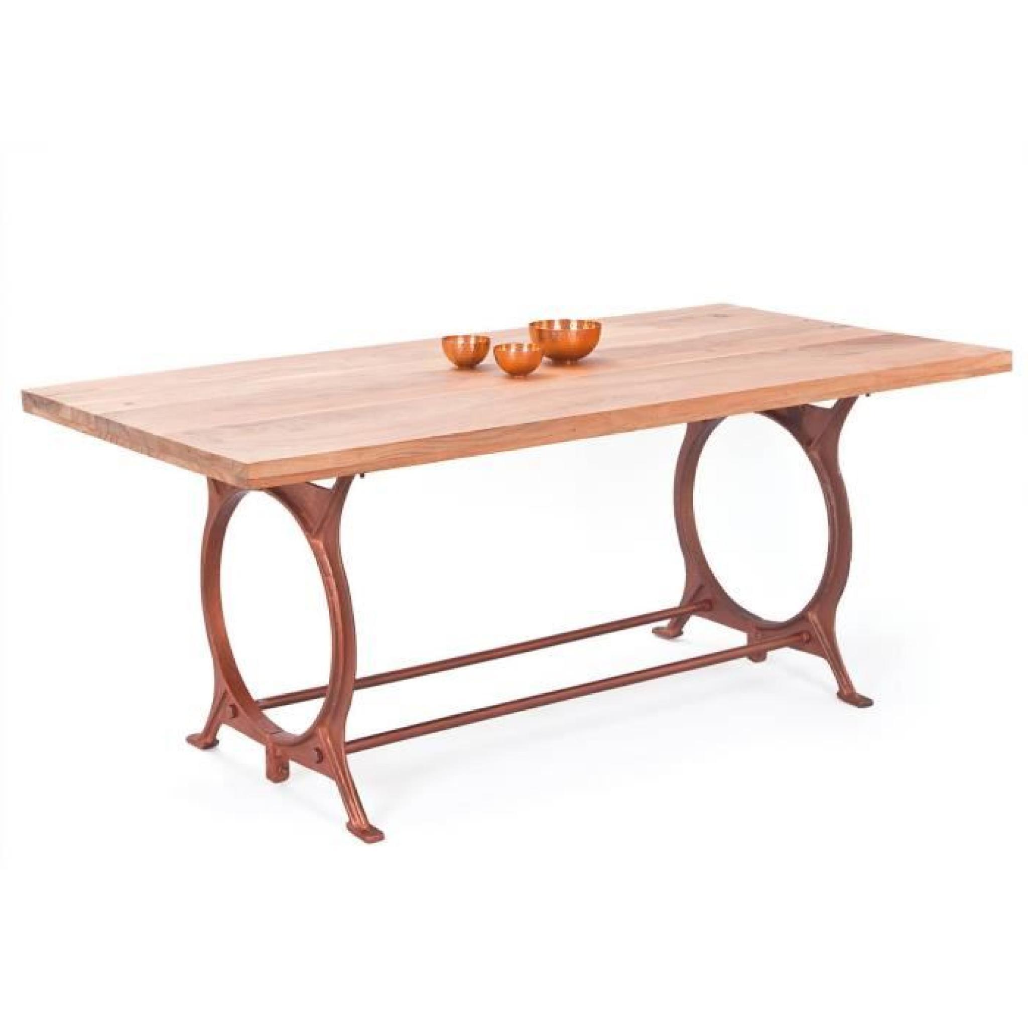 table salle a manger bois metal table bois ebeniste. Black Bedroom Furniture Sets. Home Design Ideas