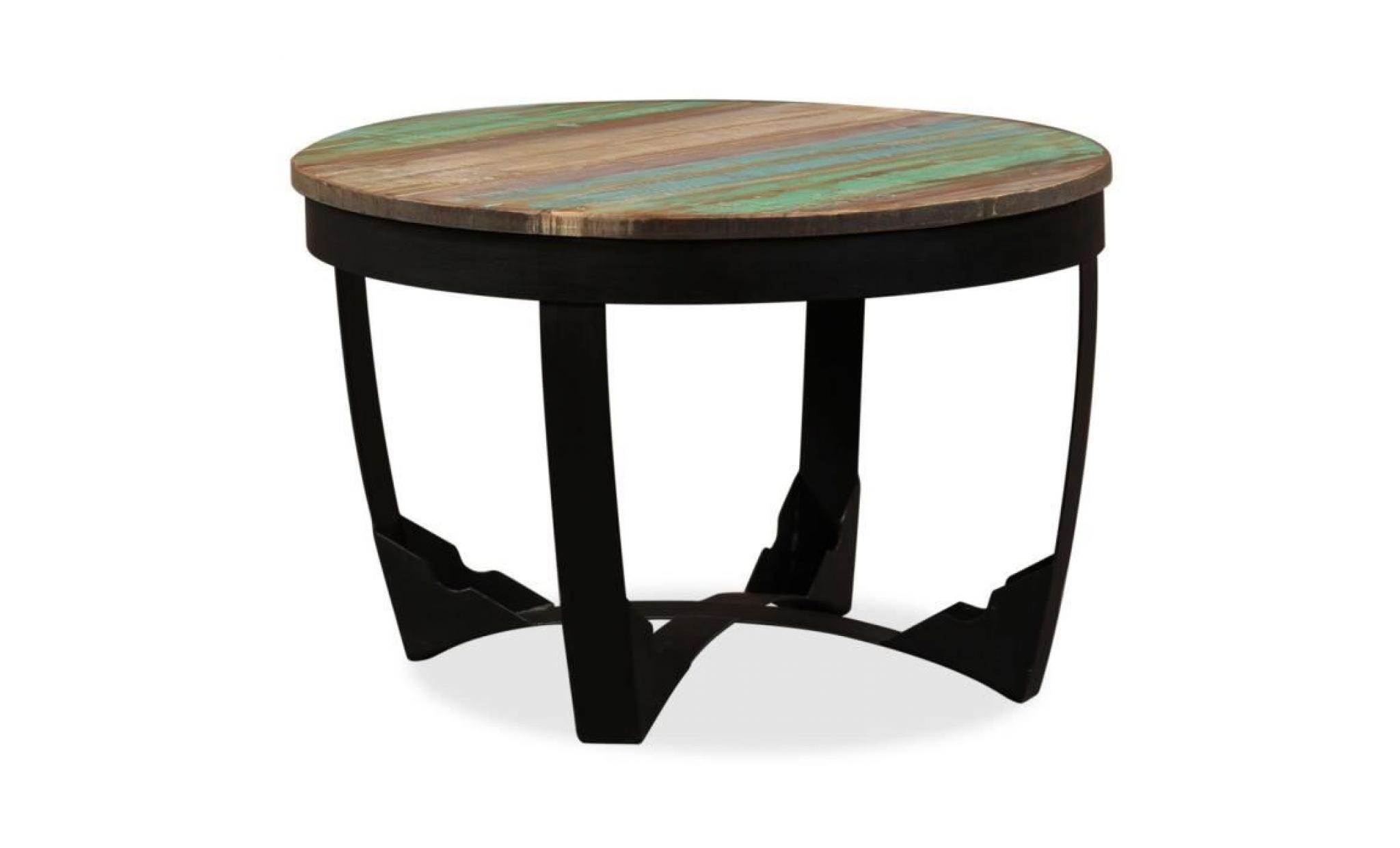 Table D Appoint Moderne Style Scandinave Table Basse Bout De Canape A Cafeconsole Bois De Recuperation Massif 50 X 50 X 35 Cm