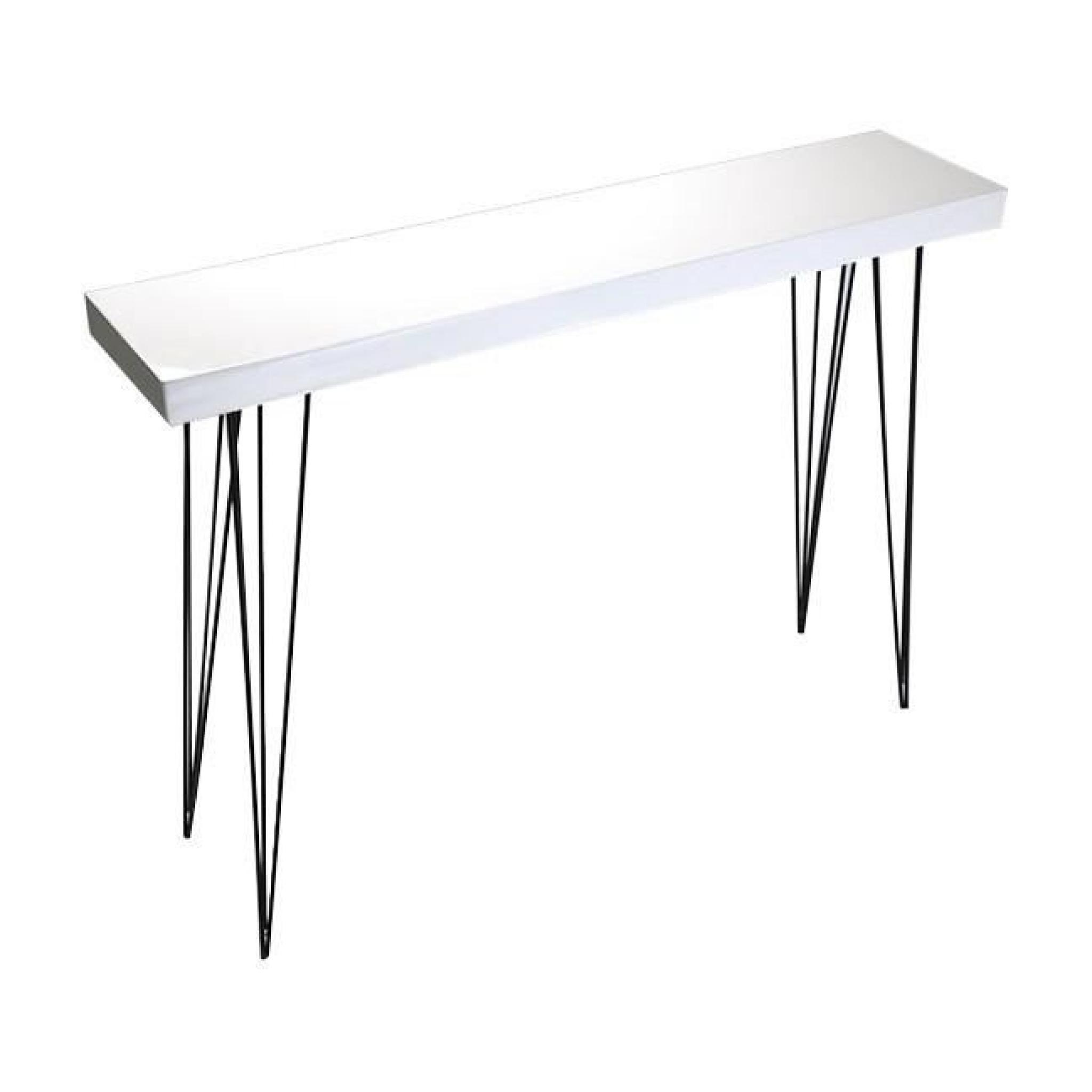 table d 39 entr e console en bois laqu blanc et m tal noir. Black Bedroom Furniture Sets. Home Design Ideas