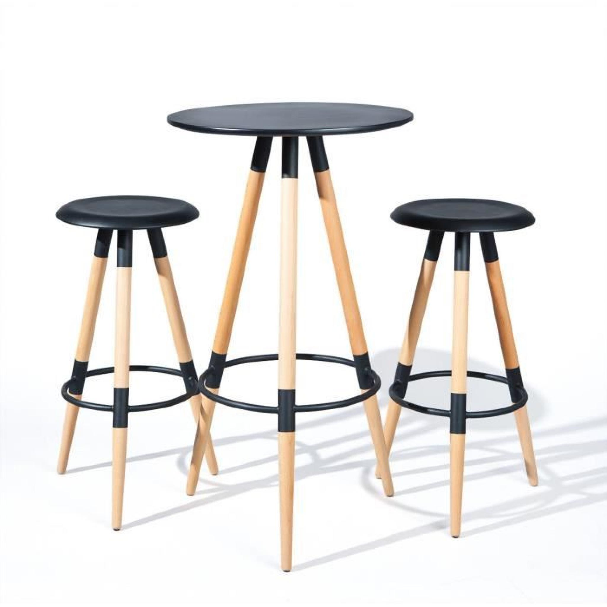 Table de bar Marten MDF noir-hêtre