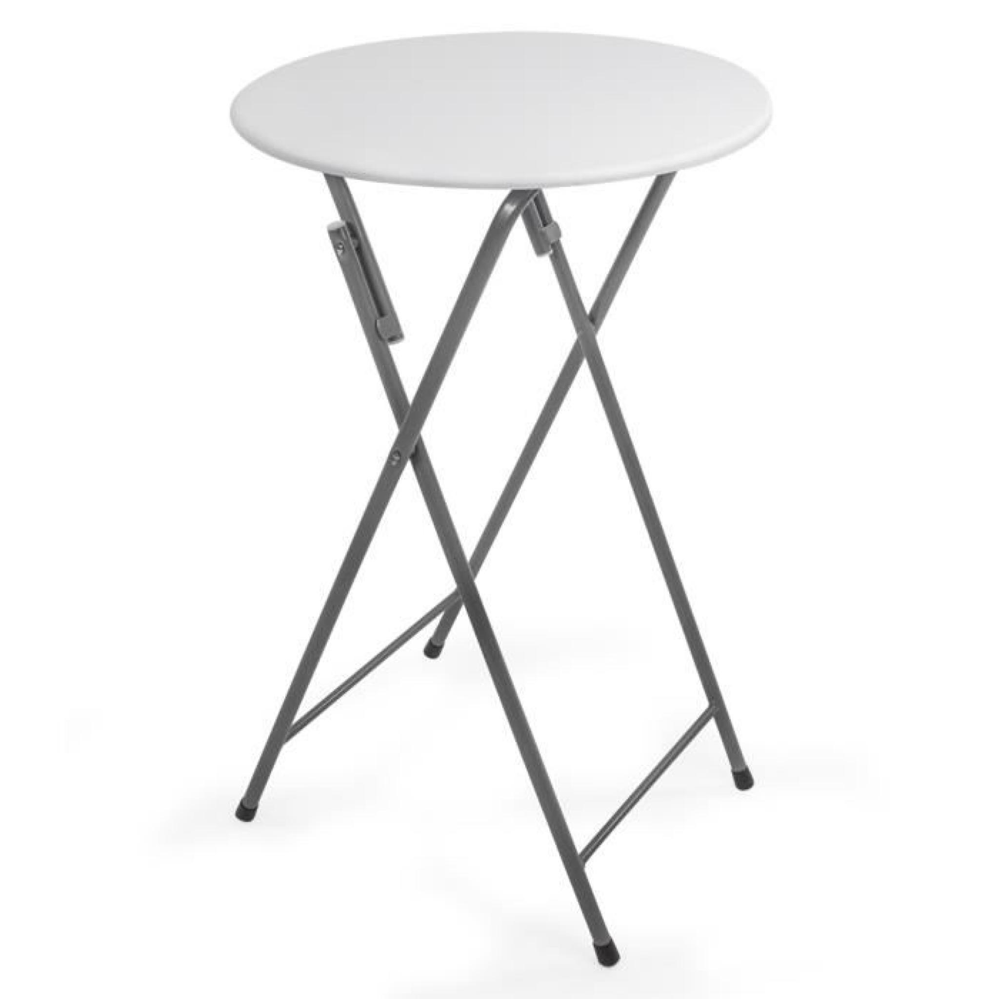 Table de bar, Table de bistro, Table Haute, Table de Jardin, Table Pliable  Ø 60 cm x 110 cm TECTAKE Blanche