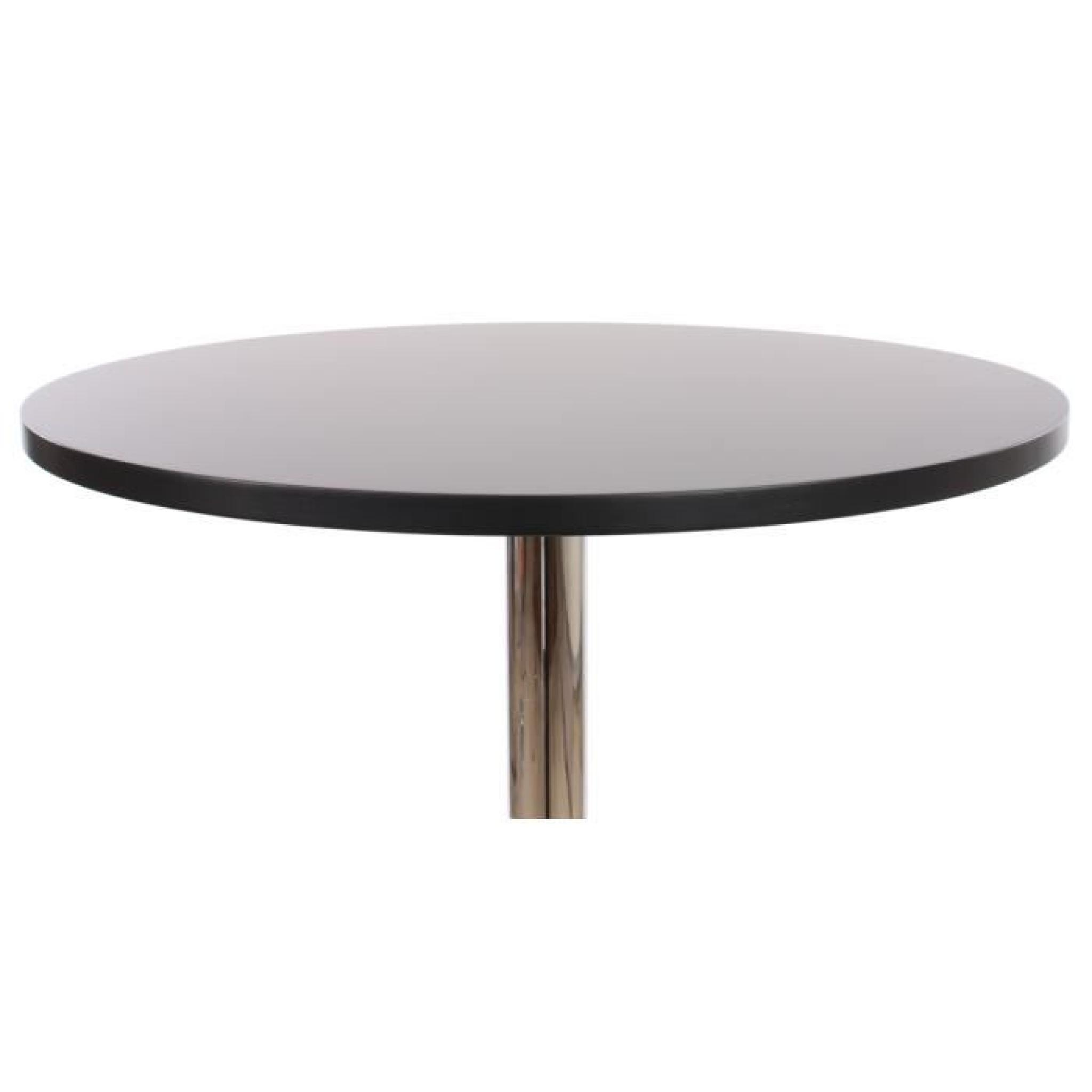 Table de bar table haute bari ronde avec repose pied for Table de chevet noir pas cher