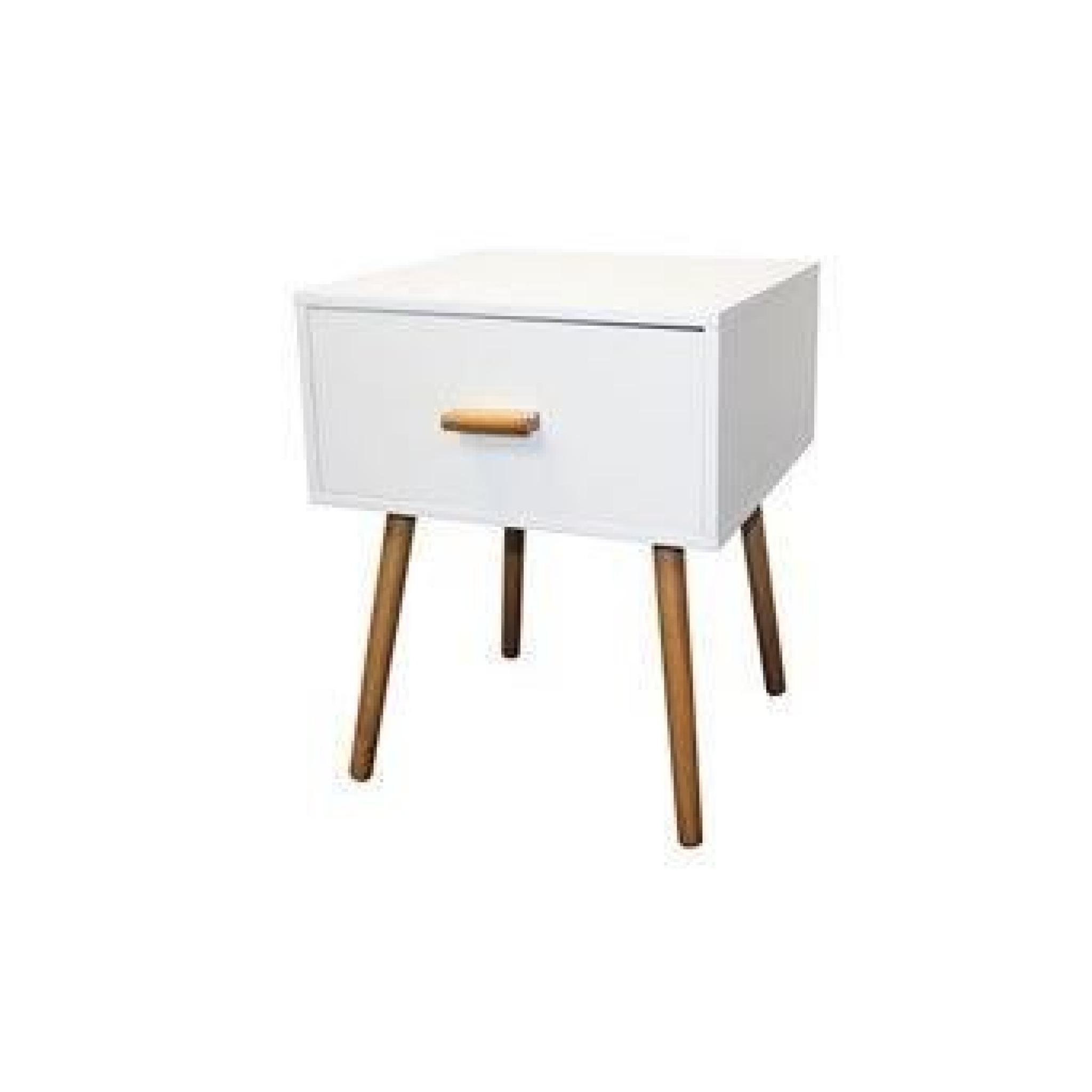 Table de chevet blanc design scandinave achat vente for Table de chevet noir pas cher