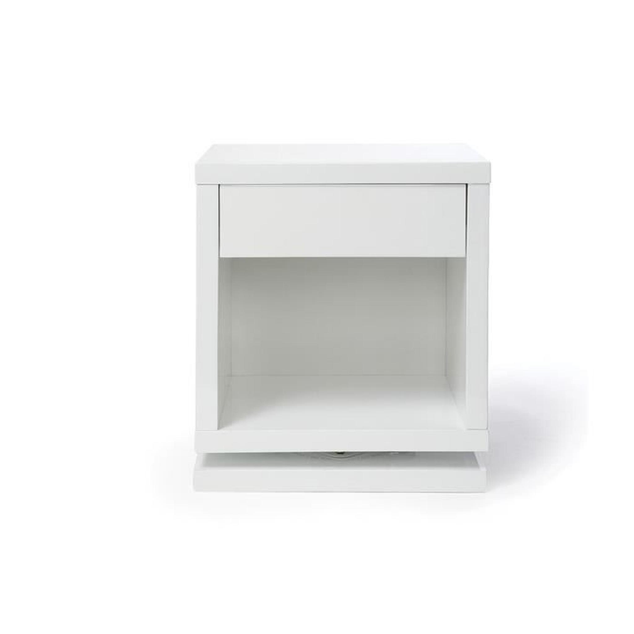 table de chevet design rotative blanc brillant max achat vente table de chevet pas cher. Black Bedroom Furniture Sets. Home Design Ideas