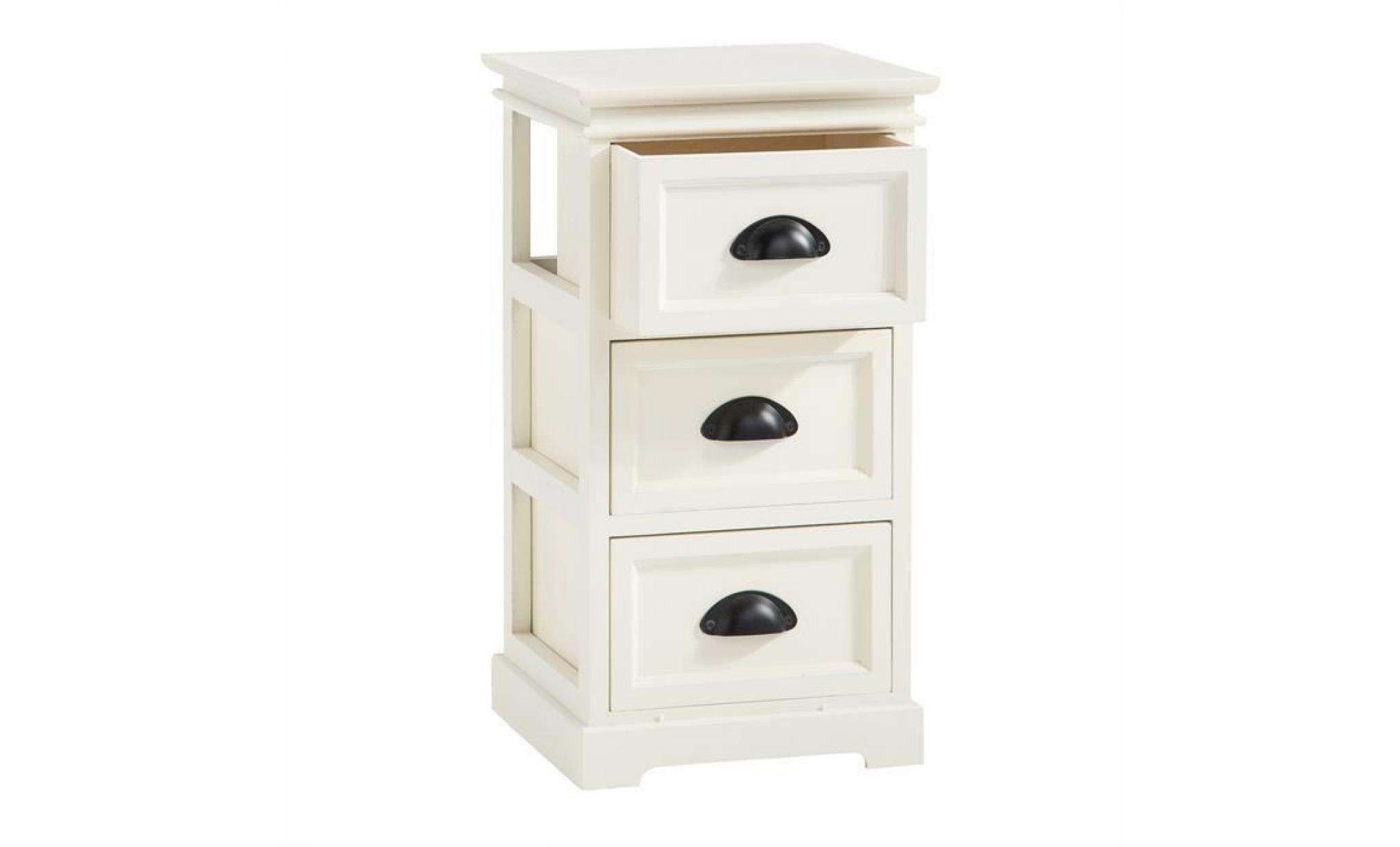 de chic classique de landhaus nuit style de shabby chevet table tiroirs table en vintage 3 bois paulownia blanc MUVLqjpSzG