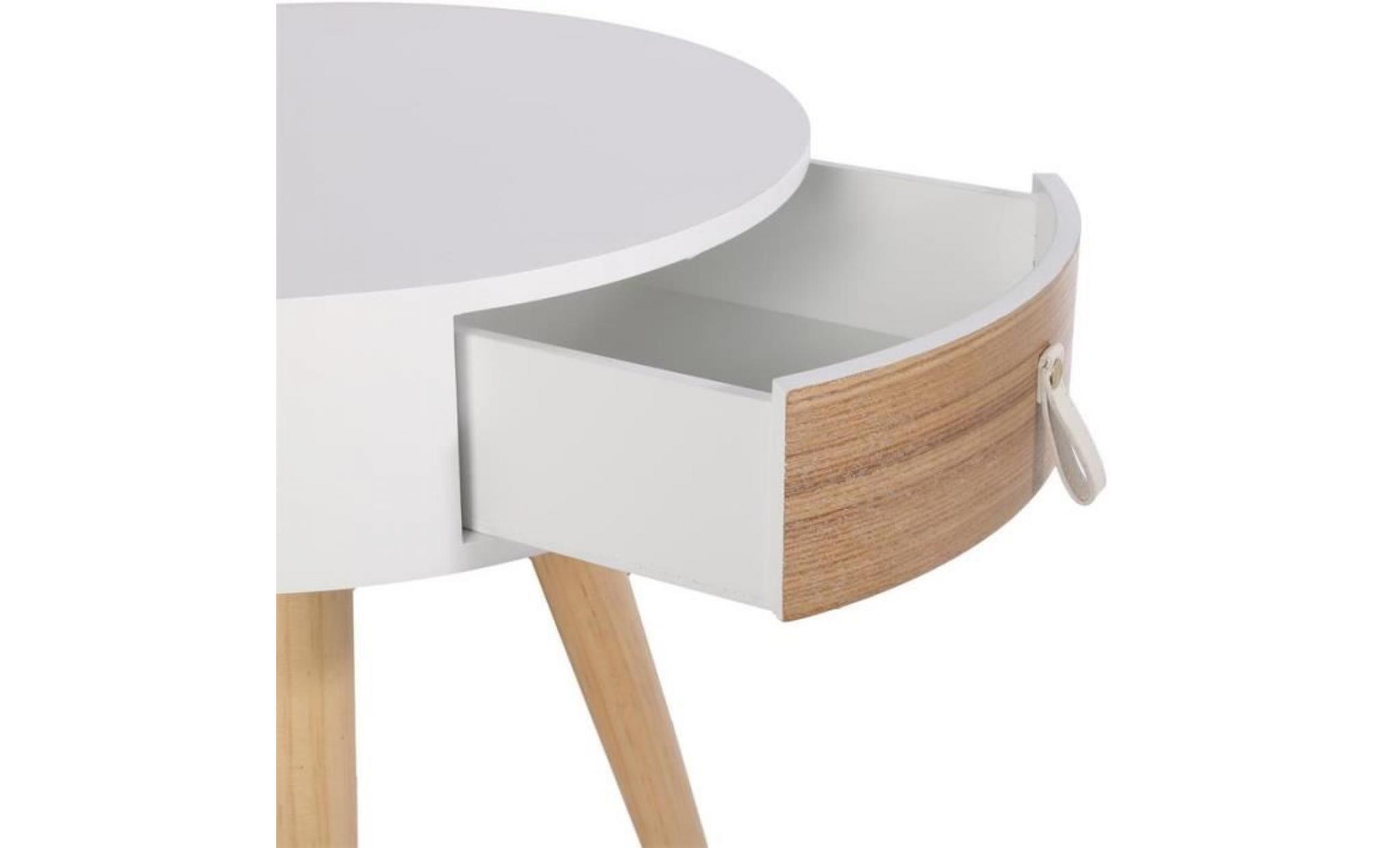 table de chevet ronde en bois avec tiroir nora d 7,7 x 7 cm blanc beige