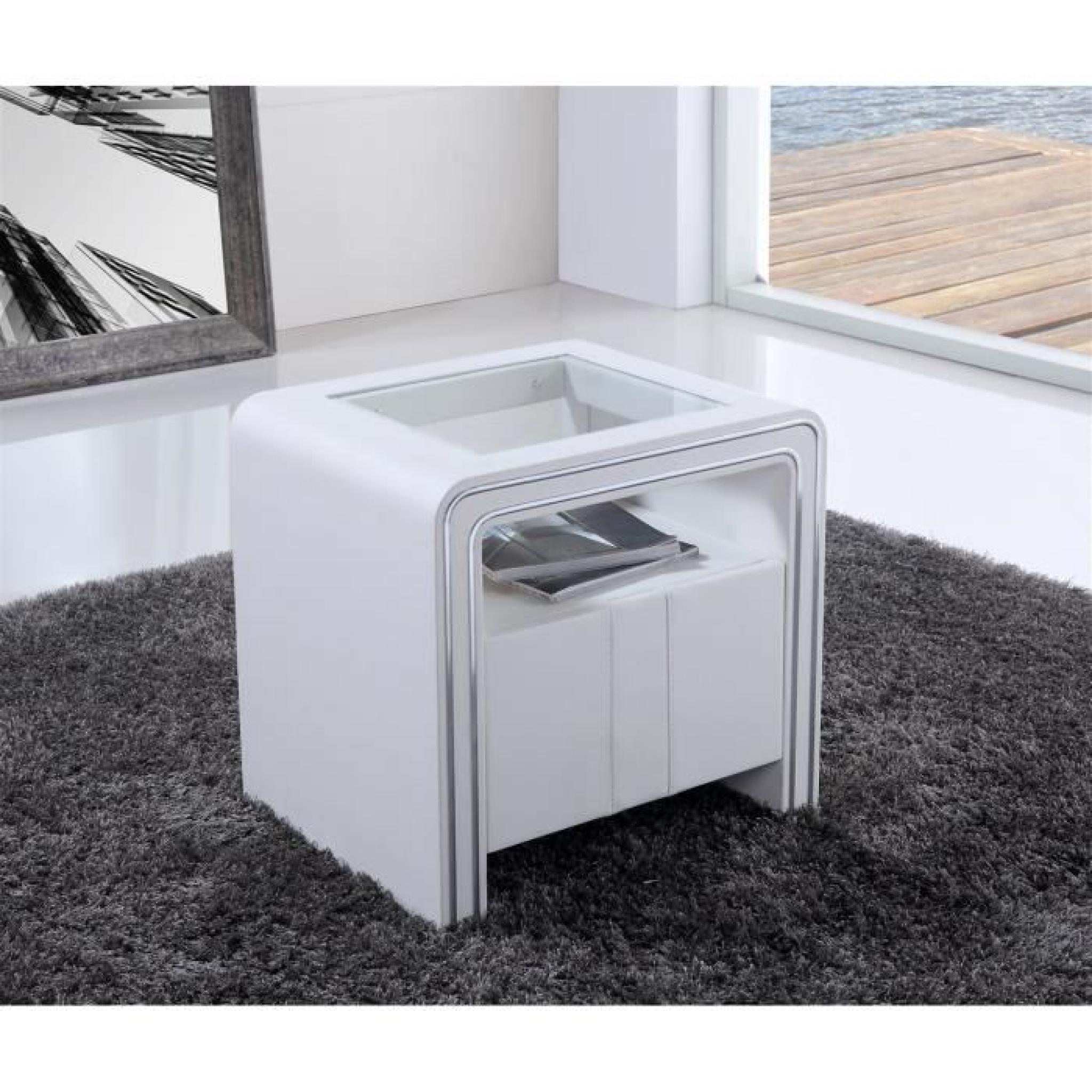table de chevet s85 blanc simili cuir achat vente table de chevet pas cher couleur et. Black Bedroom Furniture Sets. Home Design Ideas