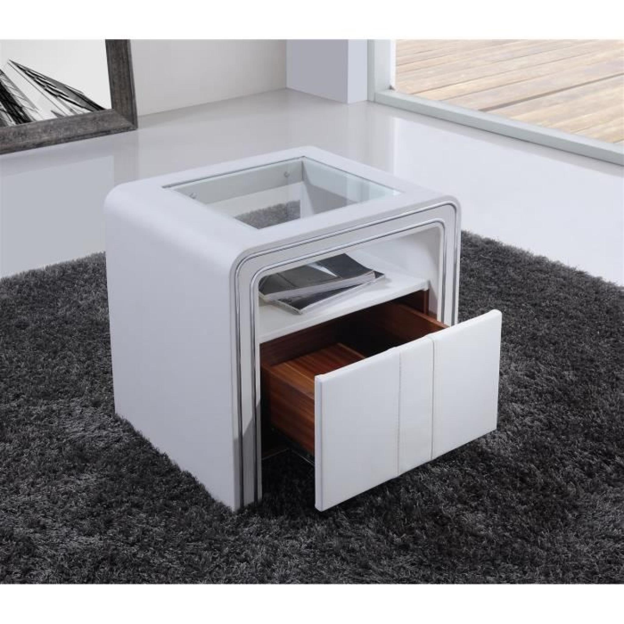 Table De Chevet S85 Blanc Simili Cuir Achat Vente Table