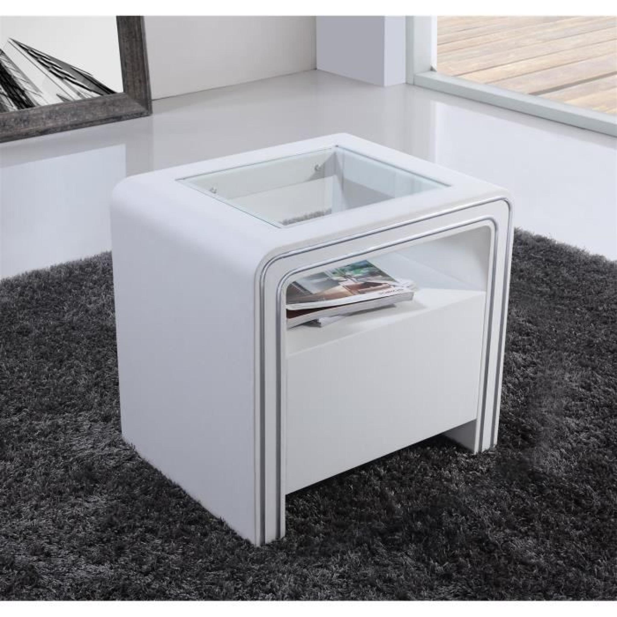 Table de chevet s85 blanc simili cuir achat vente table for Tabouret table de chevet