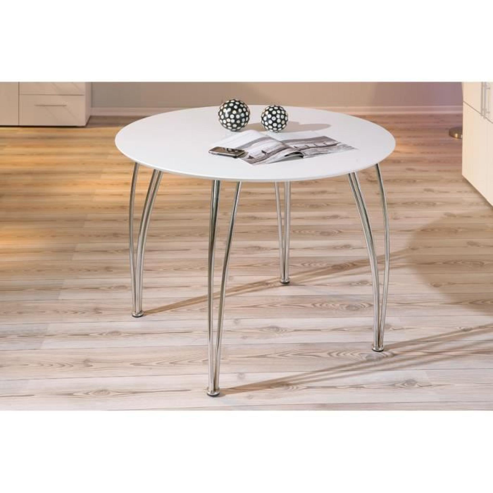 Table de cuisine blanche laquée et métal