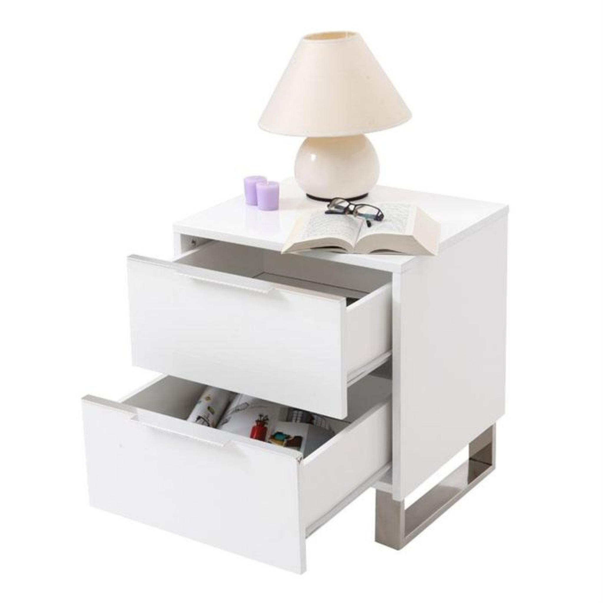 Table de nuit design laqu e blanche halifax achat vente for Table laquee blanche