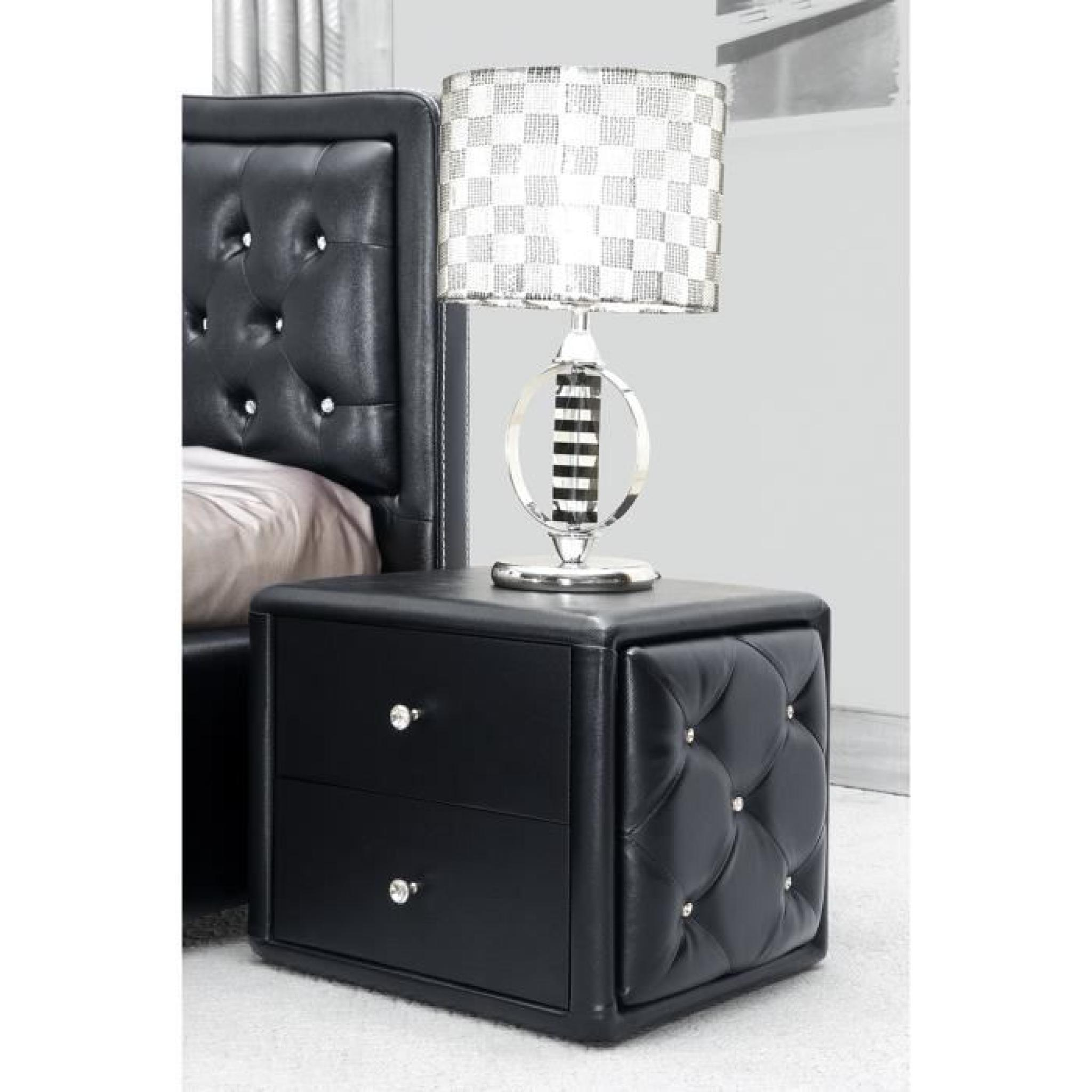 table de nuit noire capitonn e de strass achat vente. Black Bedroom Furniture Sets. Home Design Ideas