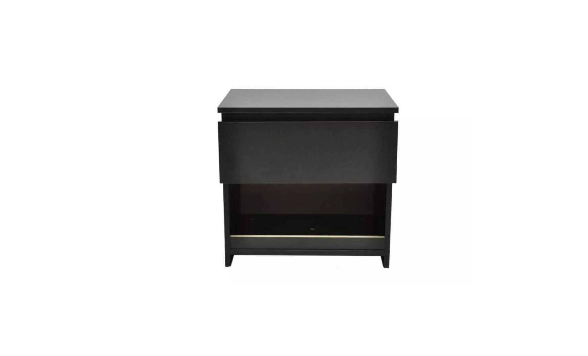 noir chevet de table 1 nuit 2 table armoire tiroir de avec pcs 7Ibgf6mvYy