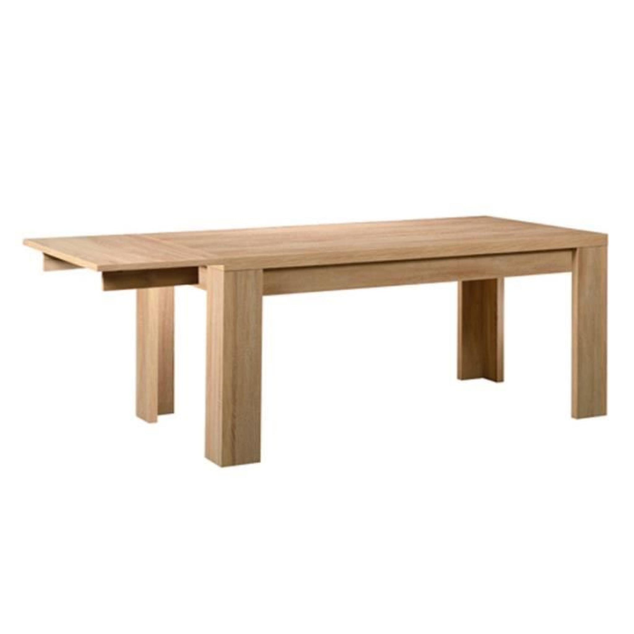 Table de repas plateau bois Hêtre clair + 1 allonge LUSON