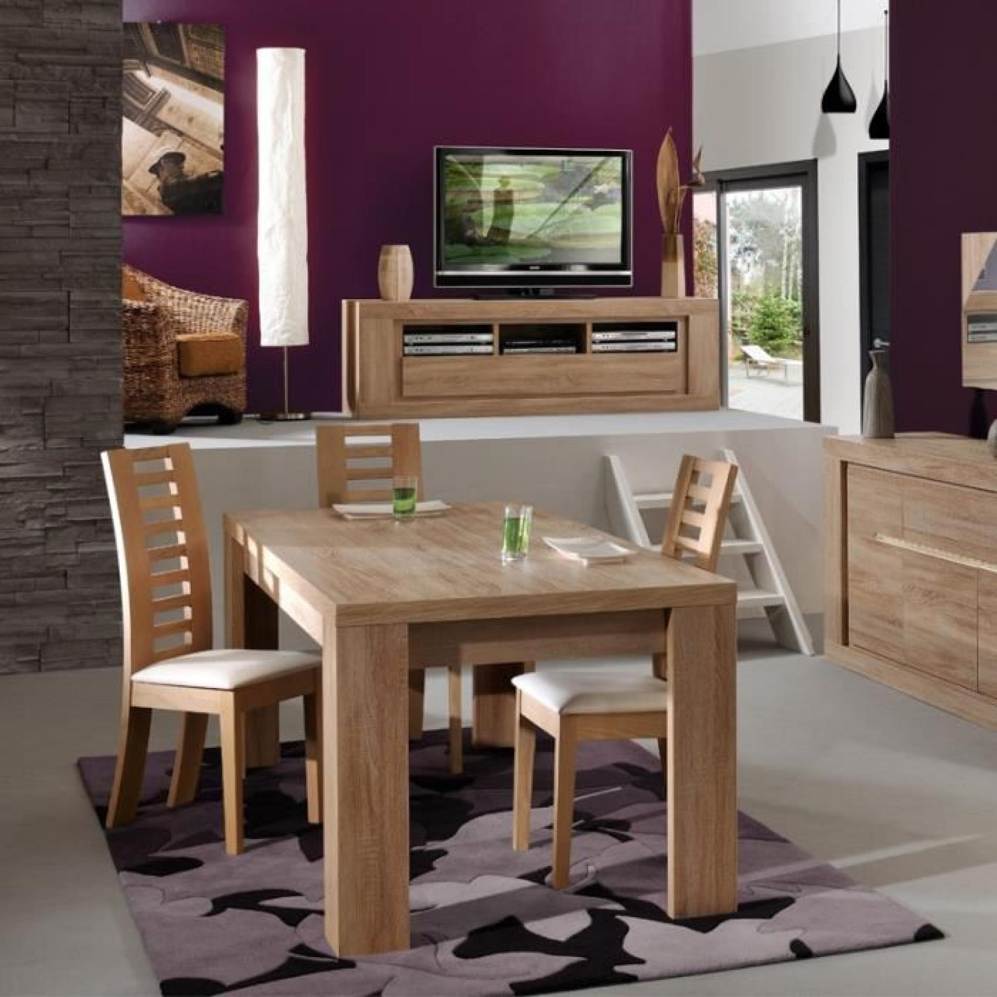 table de repas plateau bois h tre clair 1 allonge luson l 180 230 x l 95 x h 79 cm. Black Bedroom Furniture Sets. Home Design Ideas