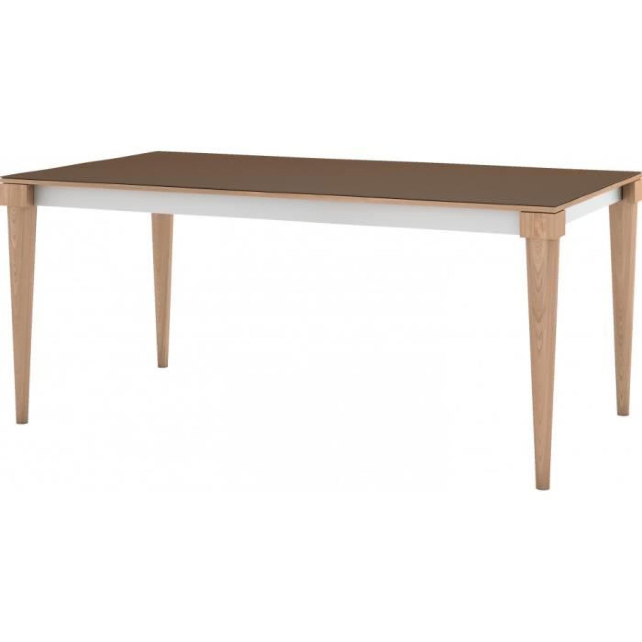 Table de repas scandinave ch ne naturel plateau c ramique chocolat 2 allonges - Table repas scandinave ...
