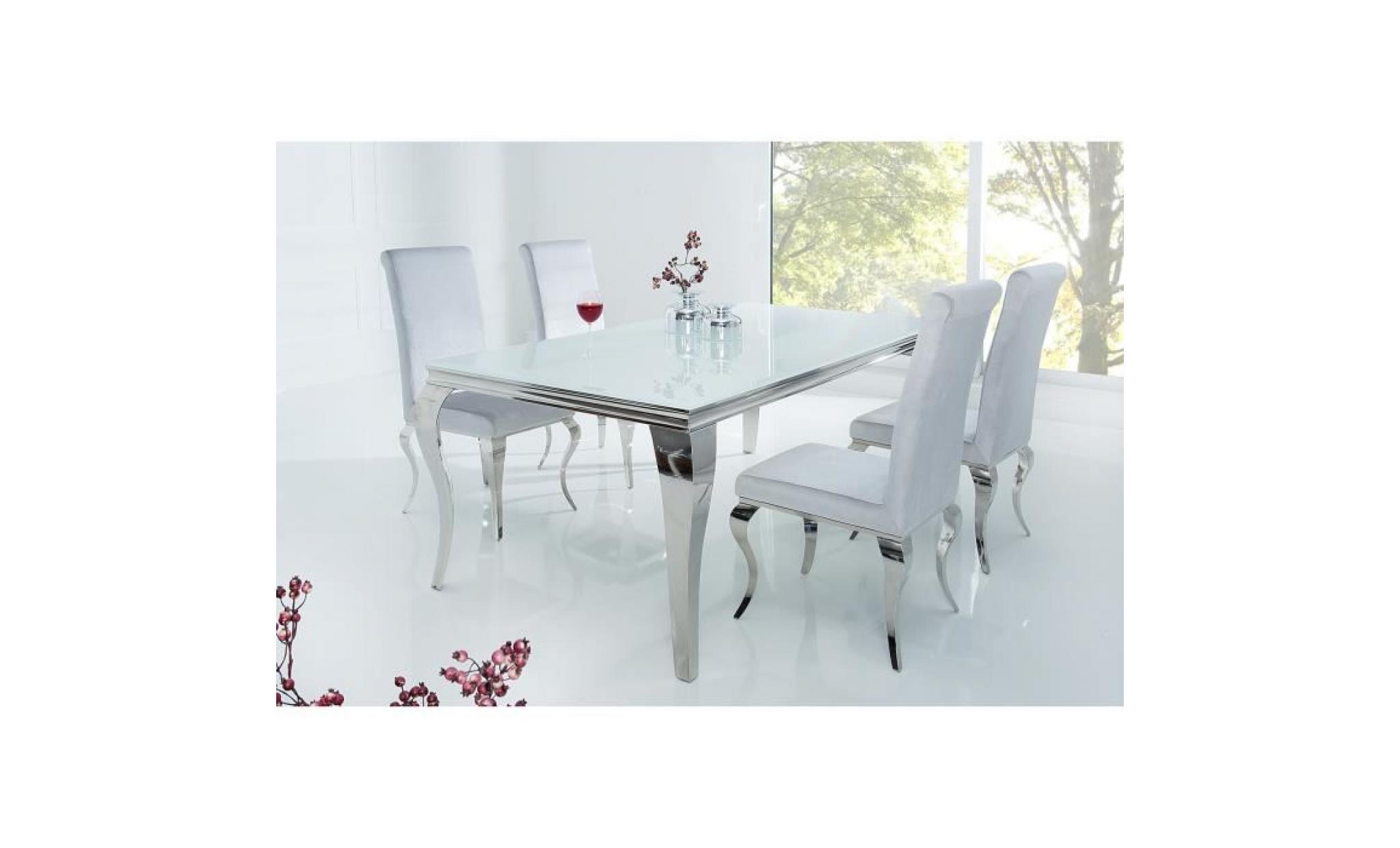 Table De Salle A Manger Design Baroque En Acier Inoxydable Poli Et Verre Trempe Securit Noir 12mm L 180 X P 90 X H 75 Cm Achat Vente Table Salle A Manger