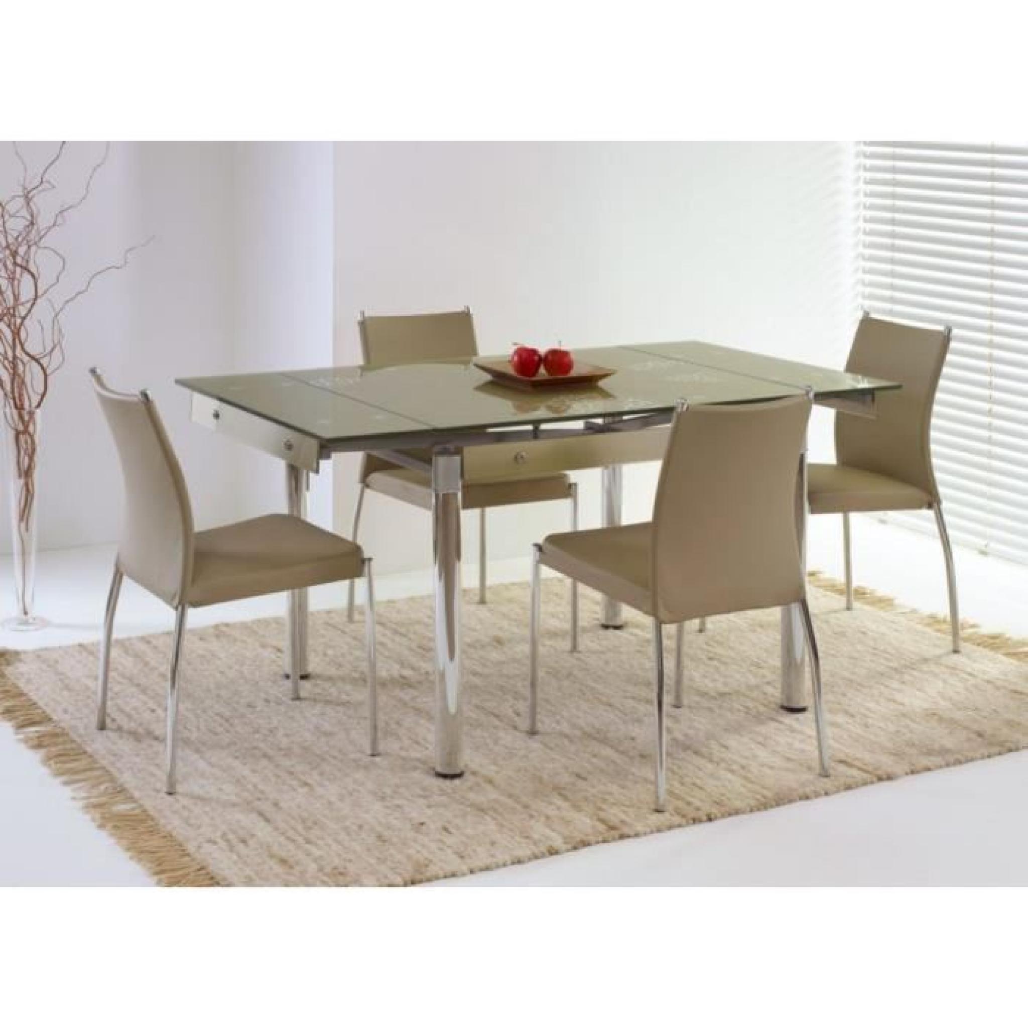 Table de salle à manger Elton extensible en Verre Beige (LxlxH):  100÷150-80-75 cm