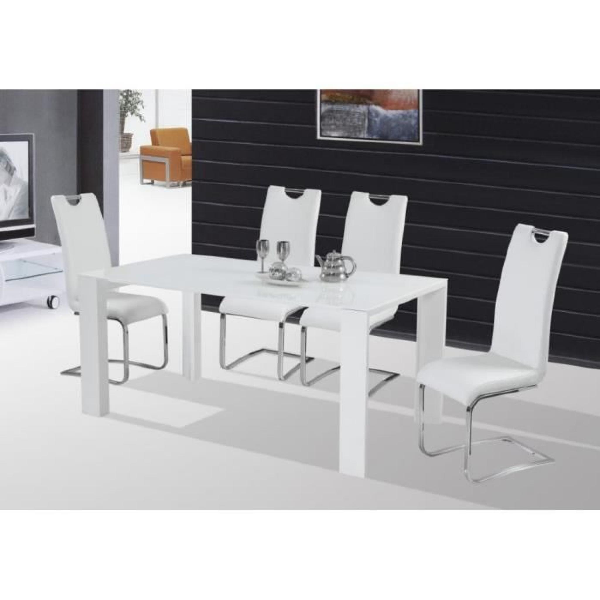 table de salle manger jonas blanc laqu haute brillance lxlxh 165 90 76 cm achat vente. Black Bedroom Furniture Sets. Home Design Ideas