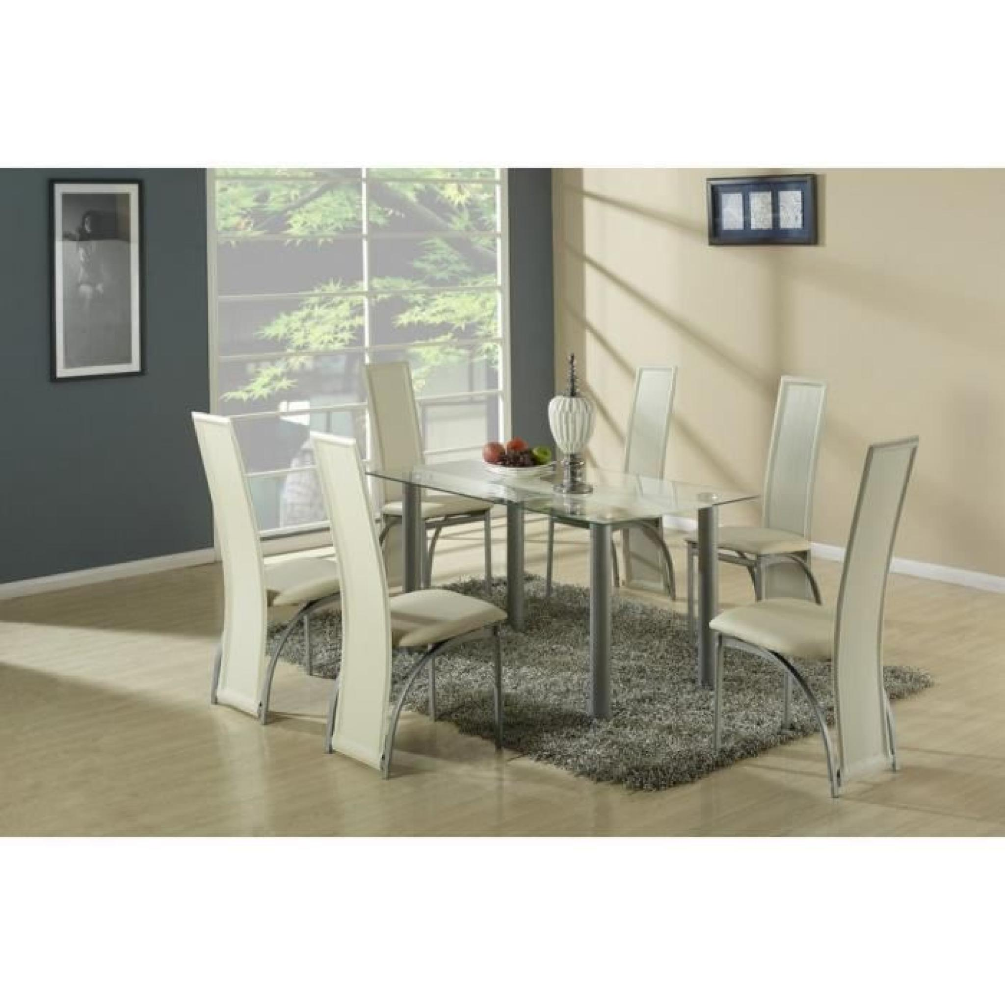 Grande table a manger design table blanche et bois of for Table salle a manger en verre