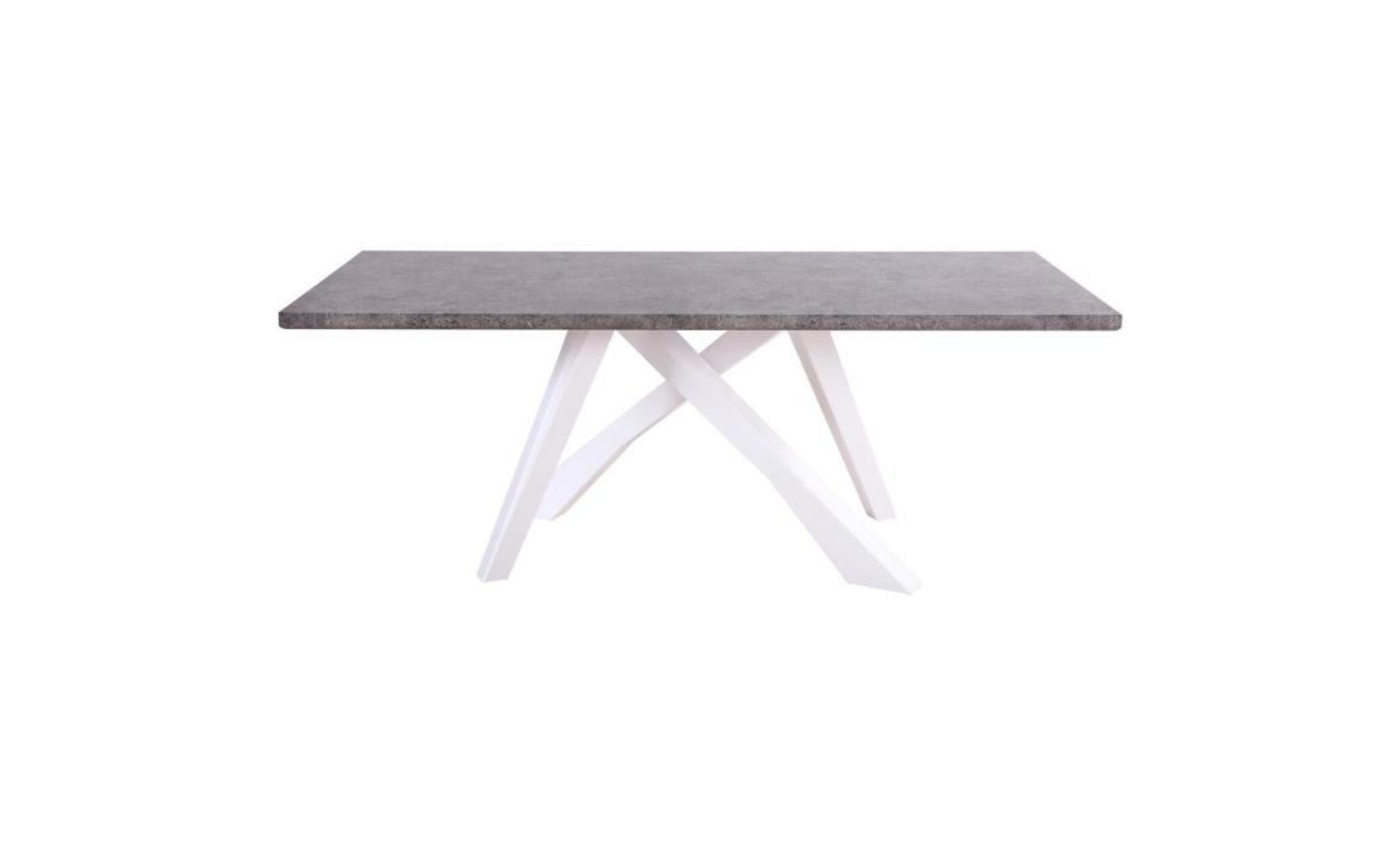 TABLE DESIGN 200CM COLORIS GRIS MARBRE AVEC PIEDS CROISÉS BLANCS