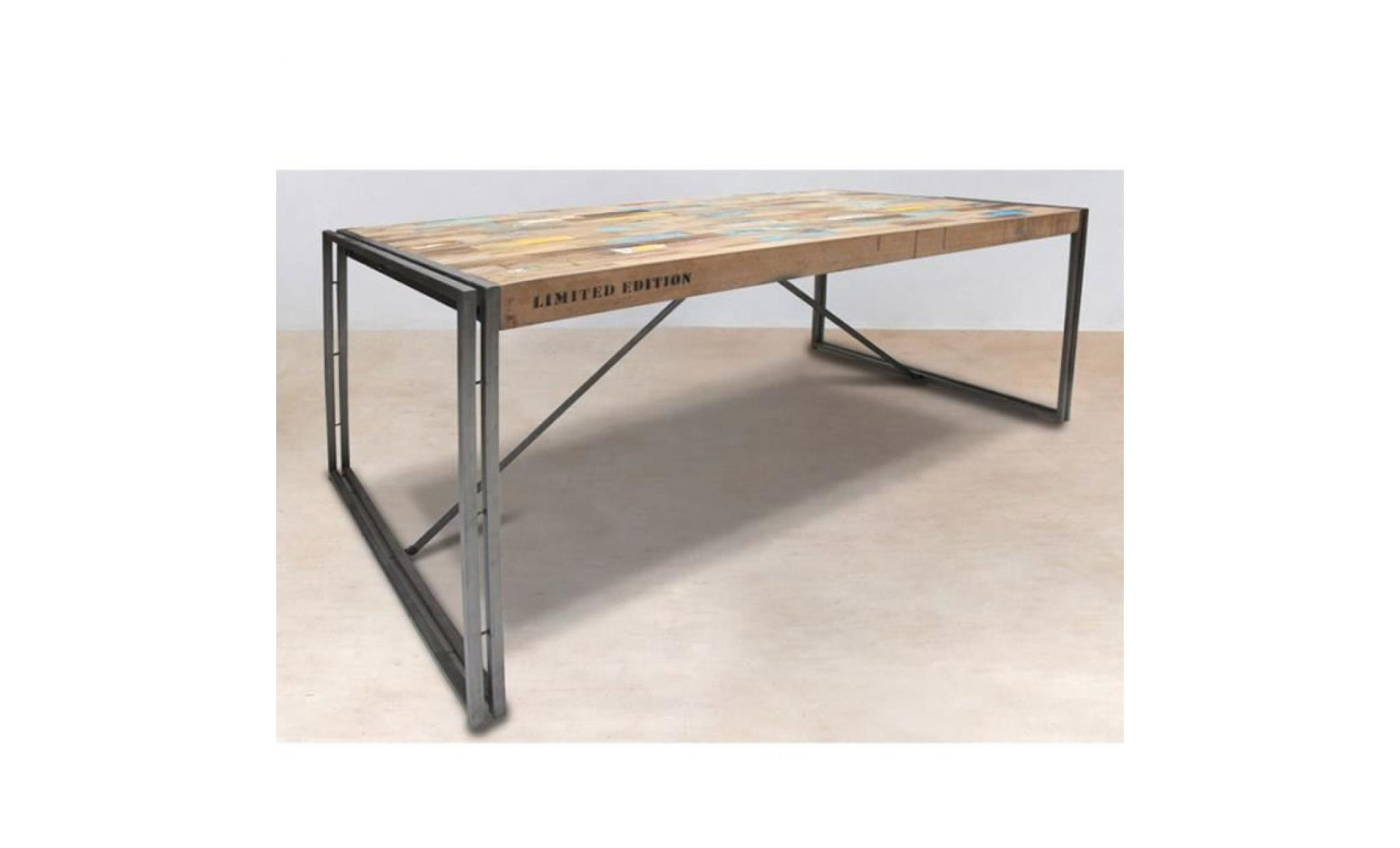 Table en bois rectangle 250cm industry achat vente for Table fer et bois salle manger