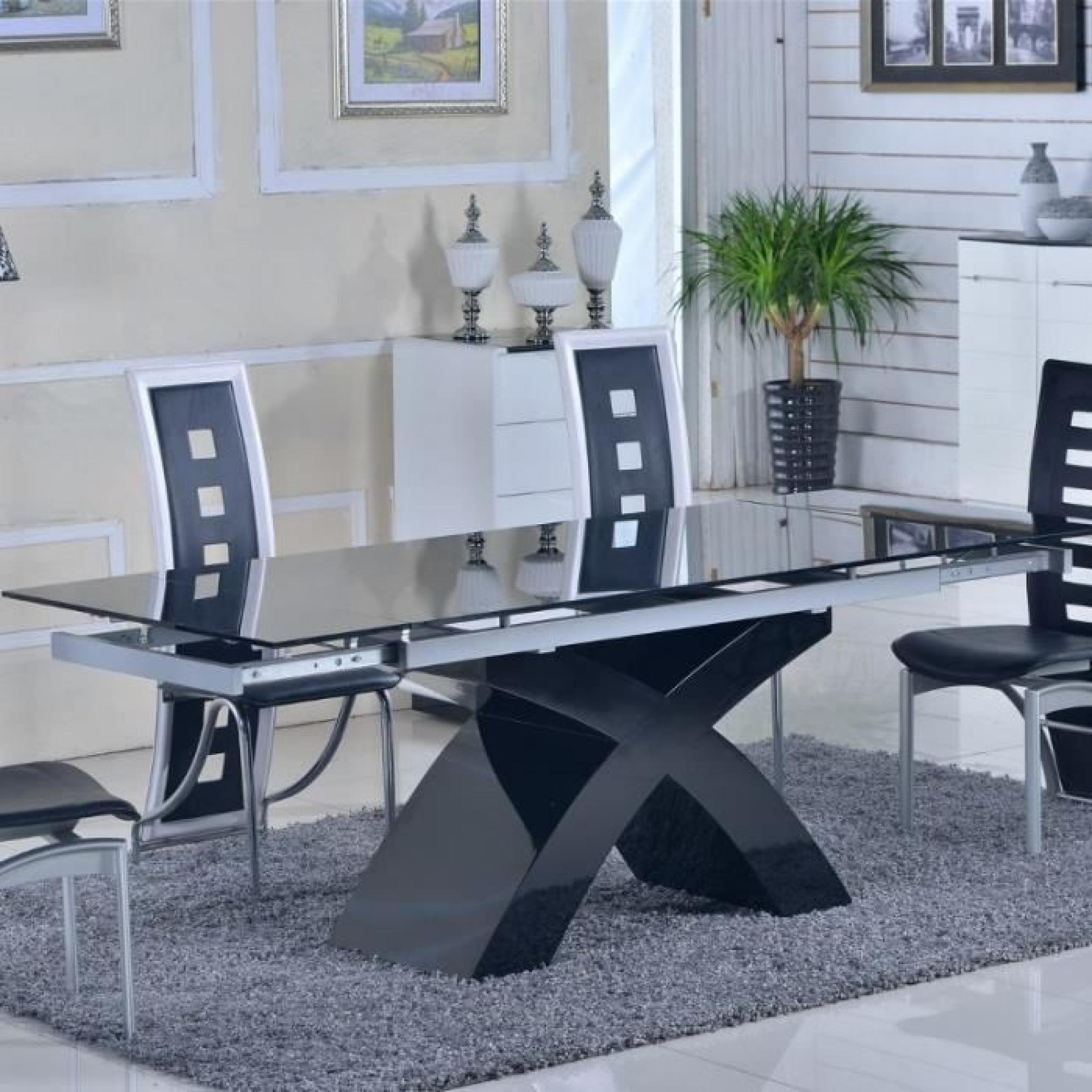 table en verre noir rallonges extensible elix achat vente table salle a manger pas cher. Black Bedroom Furniture Sets. Home Design Ideas