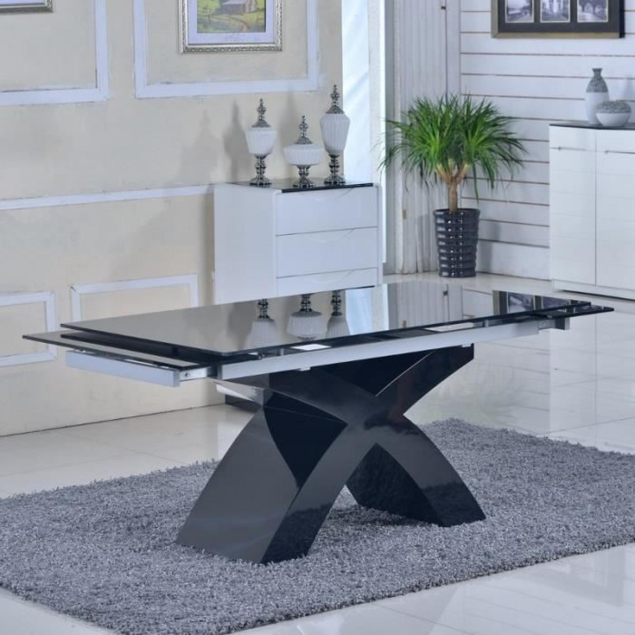 Table Carrée En Verre Extensible: Table En Verre Noir à Rallonges Extensible Elix