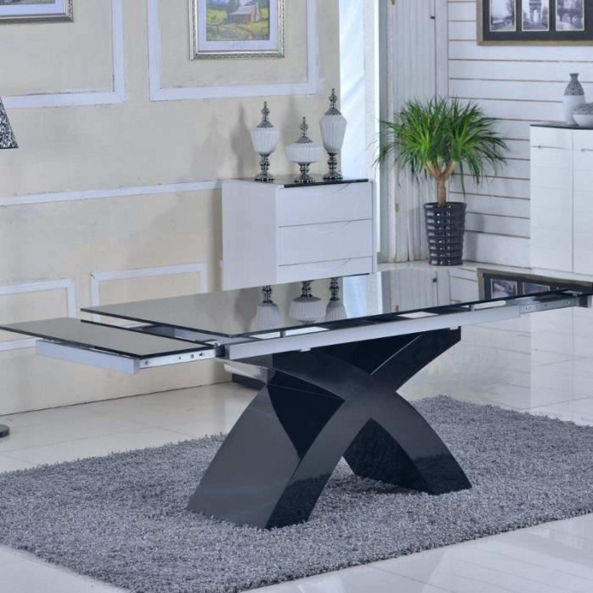Table en verre noir rallonges extensible elix achat for Table en verre design salle a manger