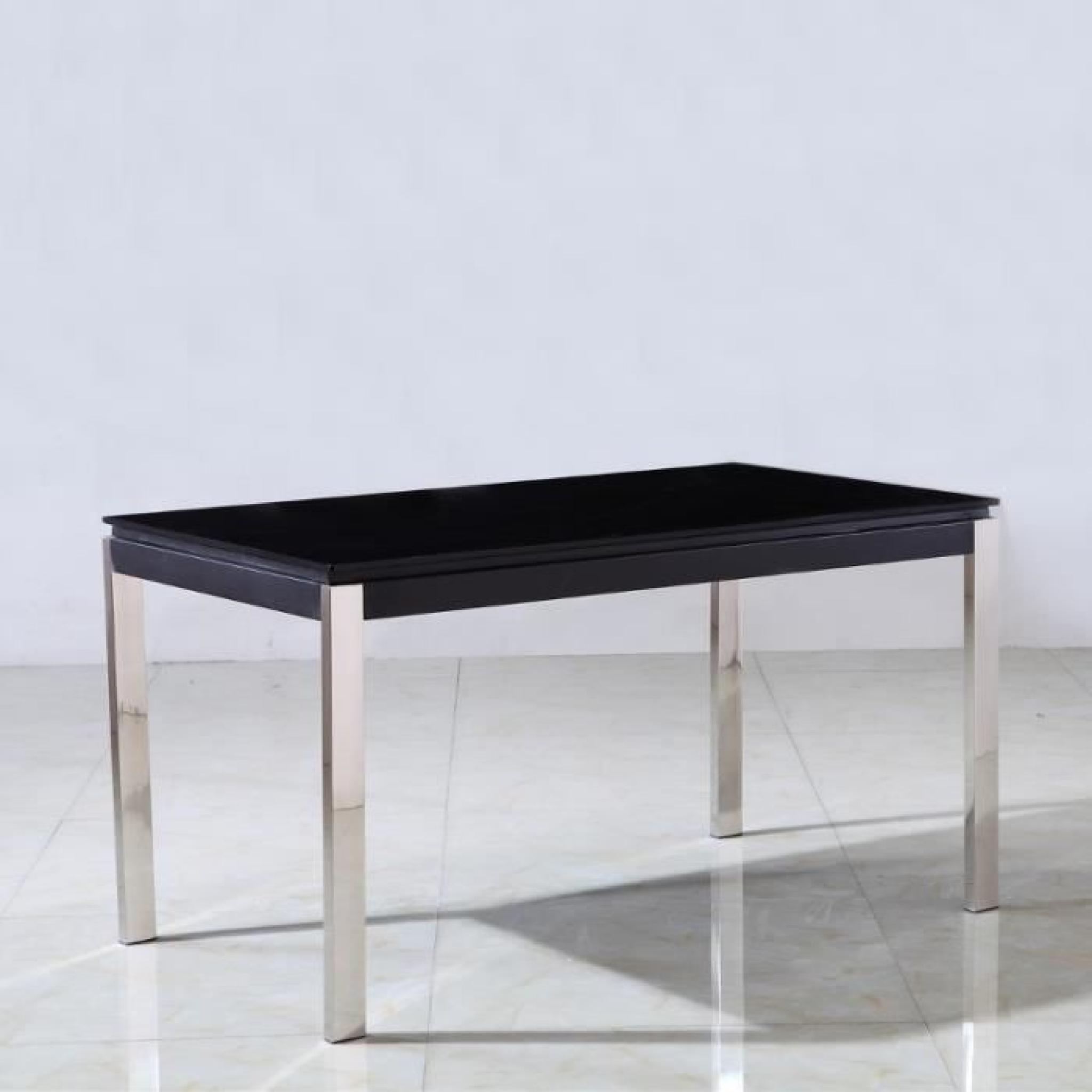 Table en verre noir et pieds inox Leros - Achat/Vente table salle a ...