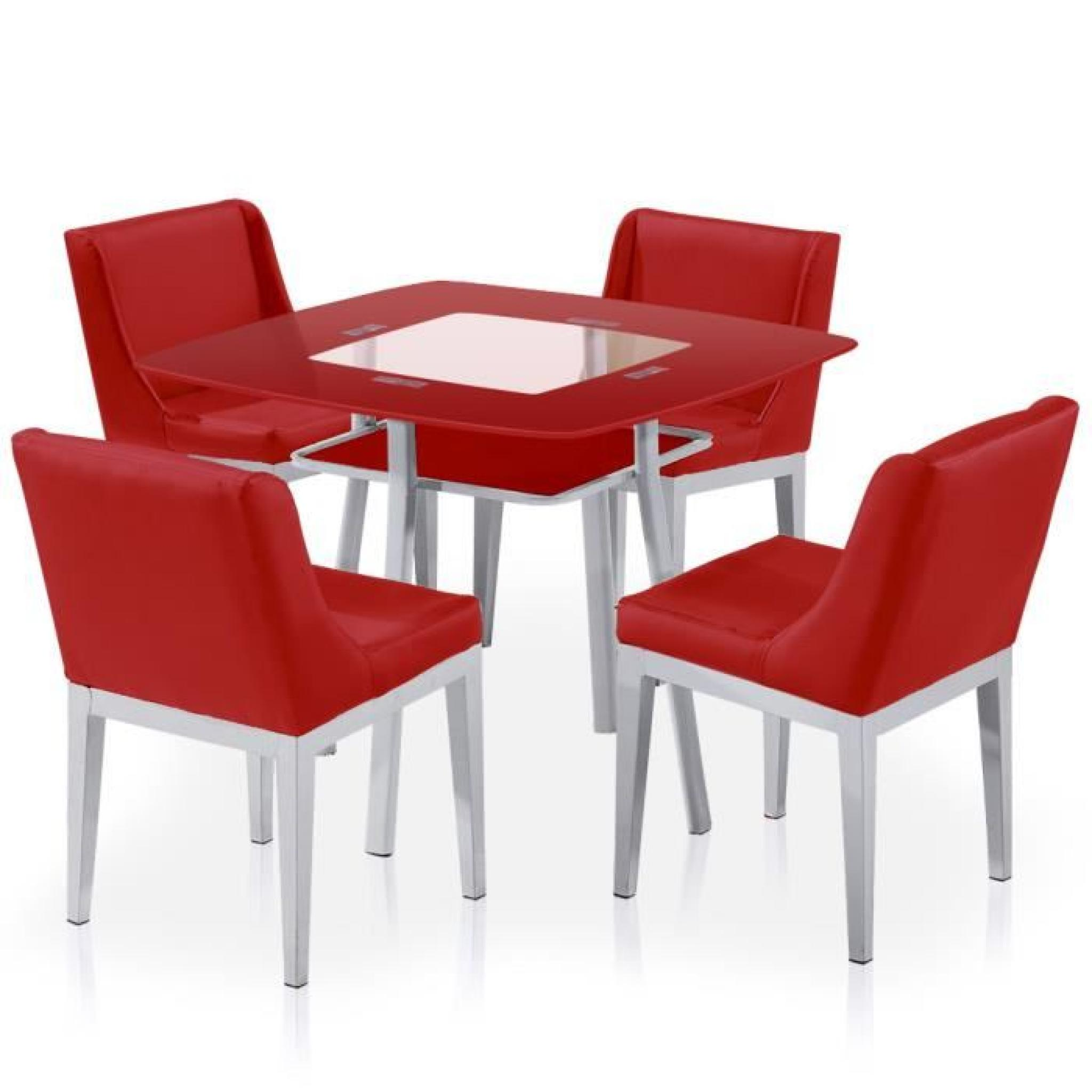 Table et chaises carrie rouge achat vente table salle a - Conforama table et chaise salle a manger ...