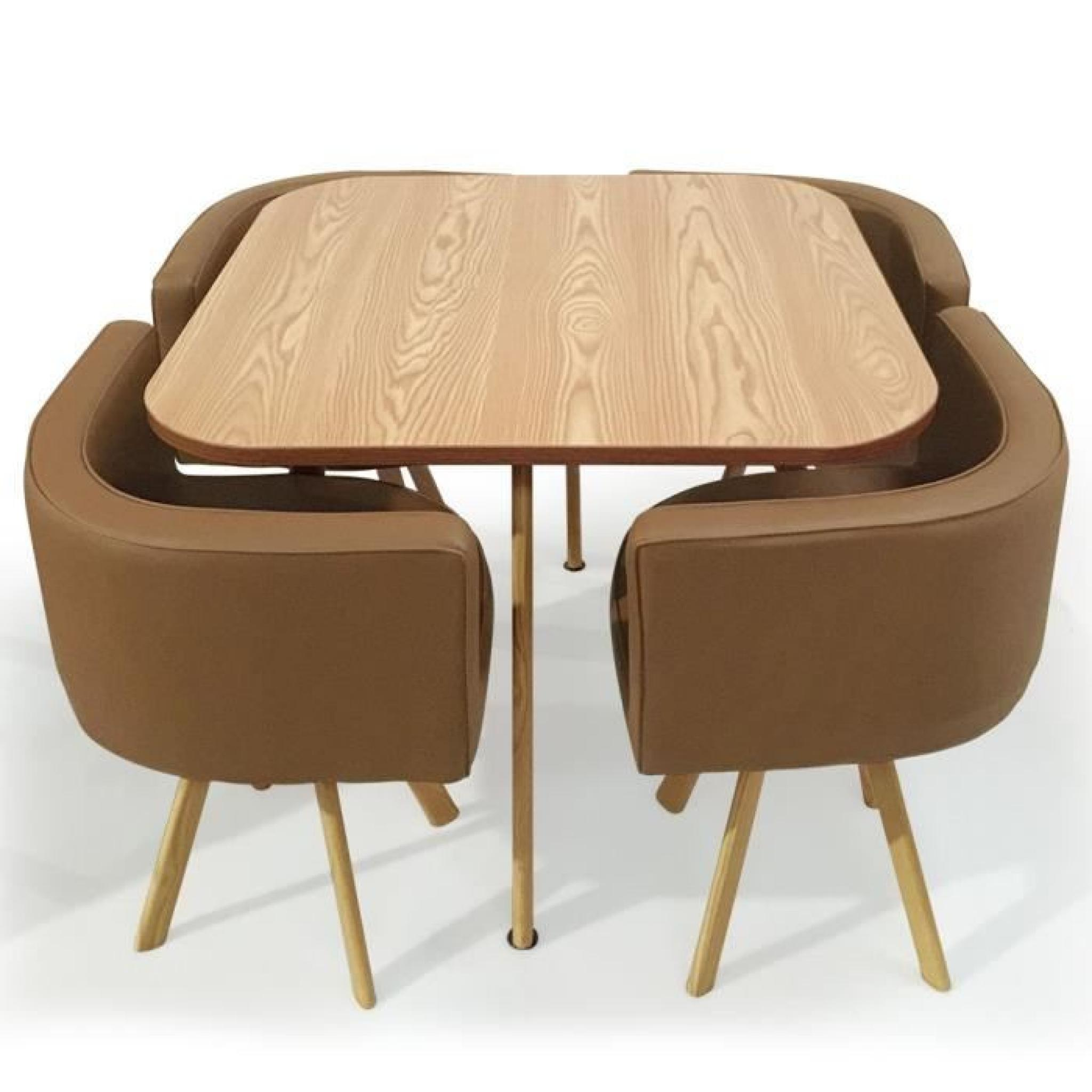 Table a manger avec pouf encastrable for Table a manger avec 6 chaises