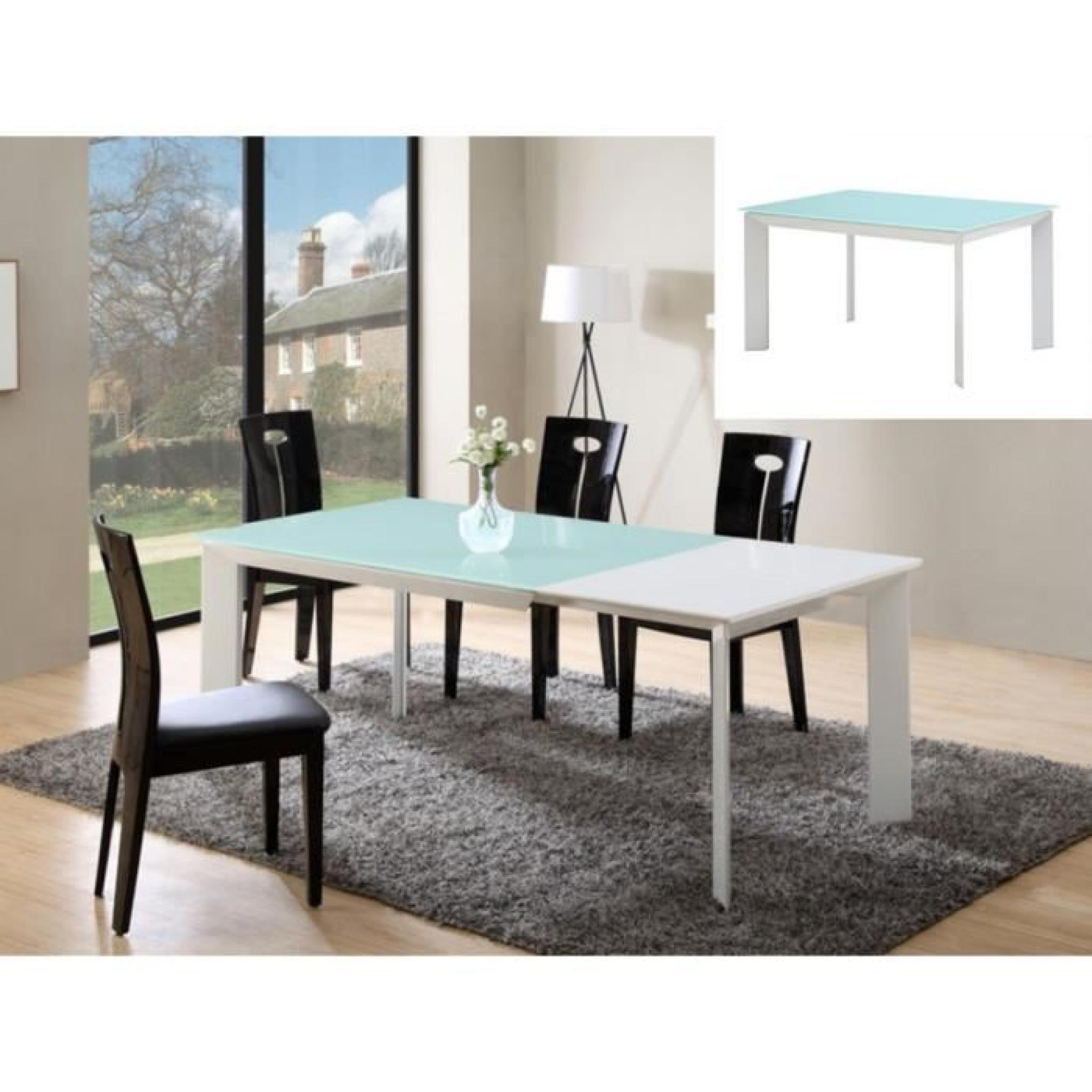 Table extensible arielle   6 à 8 couverts   mdf & verre trempé ...