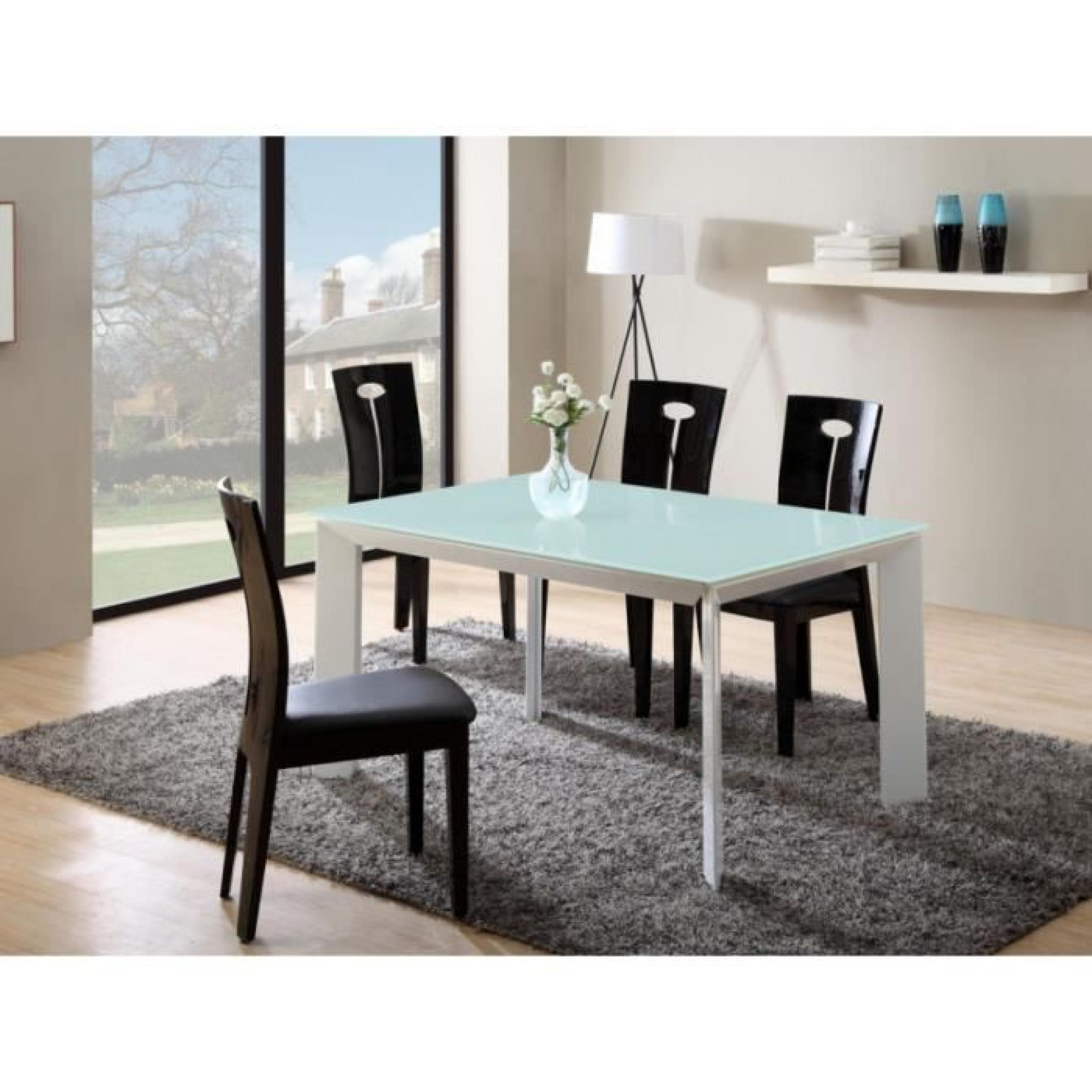 Table Extensible Arielle 6 à 8 Couverts Mdf Verre Trempé